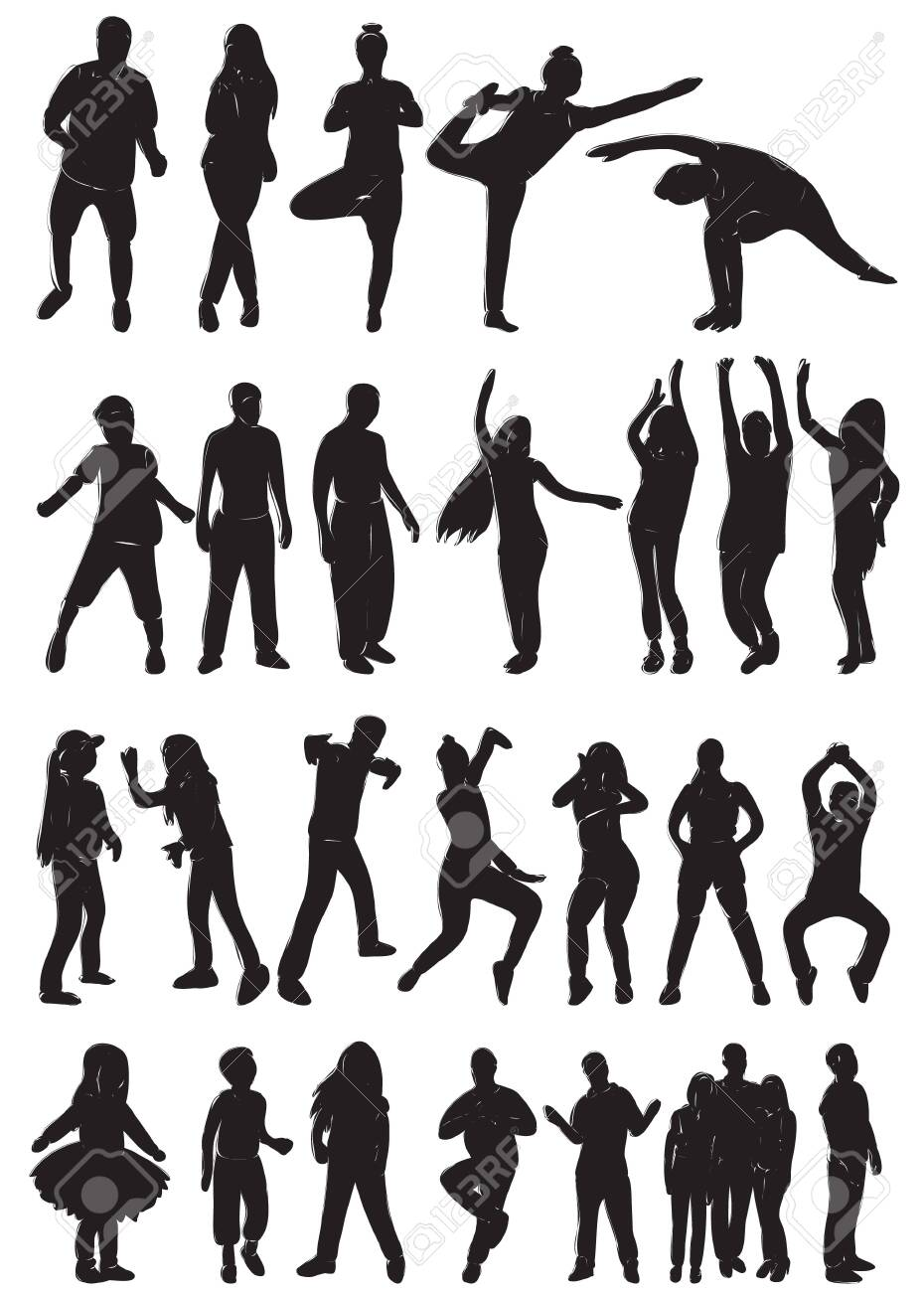 silhouette of dancing people set - 150132984