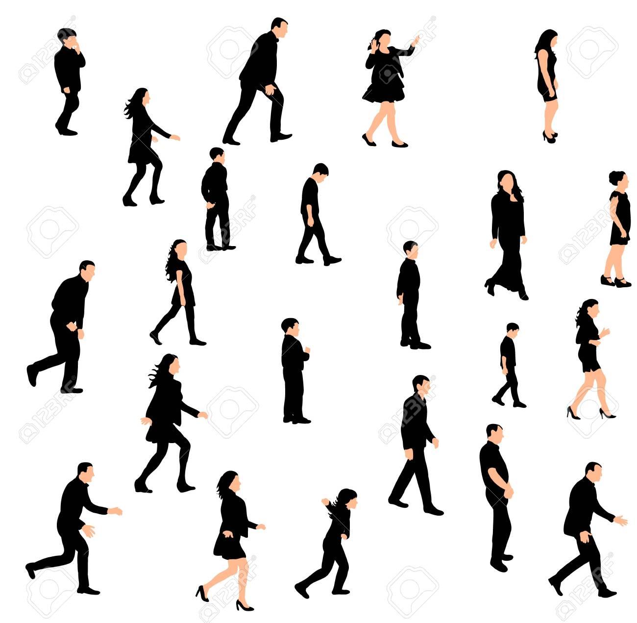 Vector, isolated silhouette people walking sideways set - 153888758