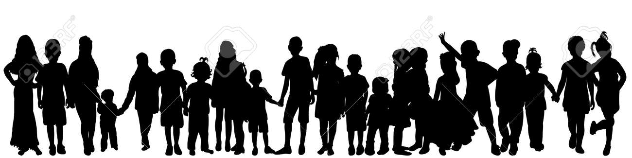 vector isolated silhouette of a crowd of children, collection - 153887384