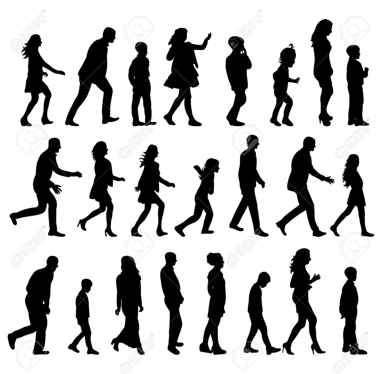 silhouette people walking sideways collection - 153888853