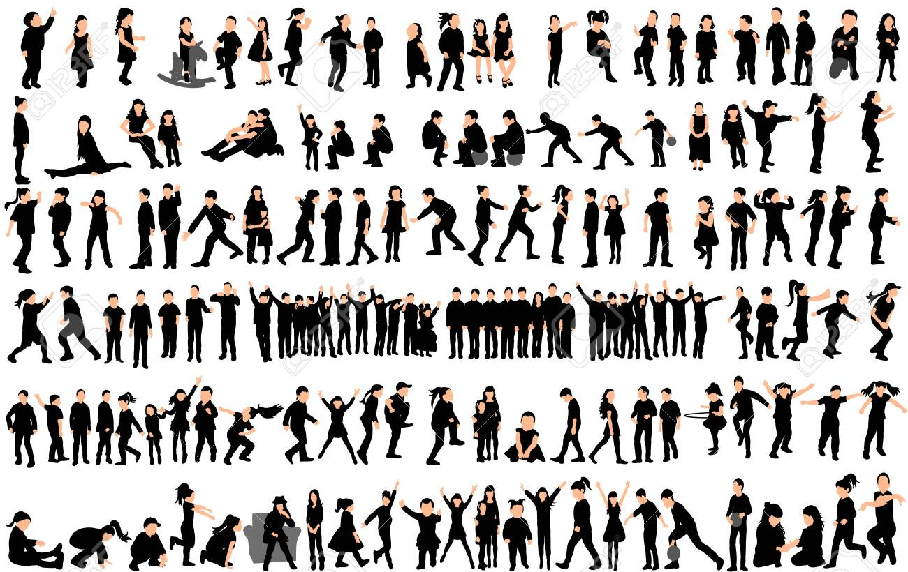 Vector, silhouette of children, big collection, children play and dance - 154021250
