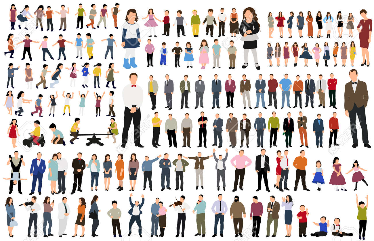 isolated, collection isometric people, flat style - 154021368