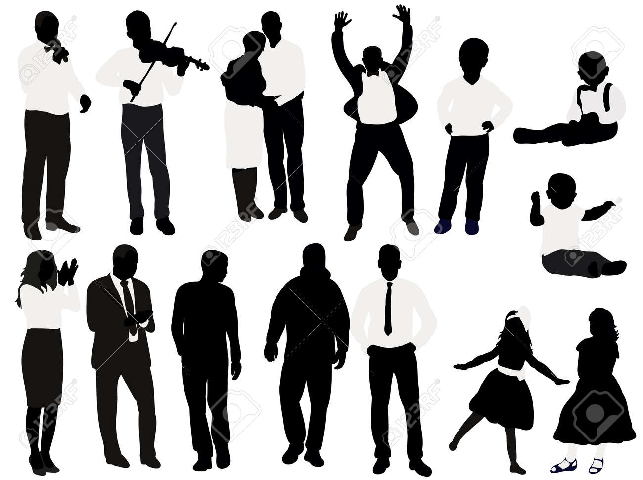 Vector, isolated, black and white silhouette people, collection, set - 154021204