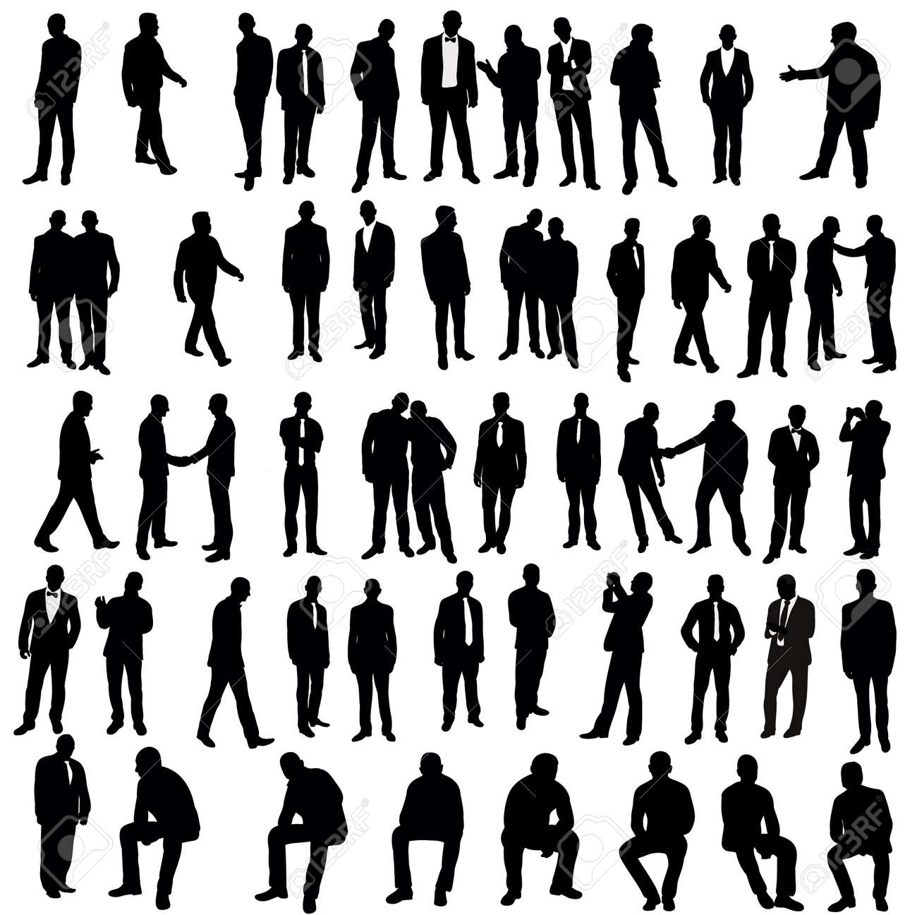 Vector, isolated, silhouette of man, go stand, set - 154021168