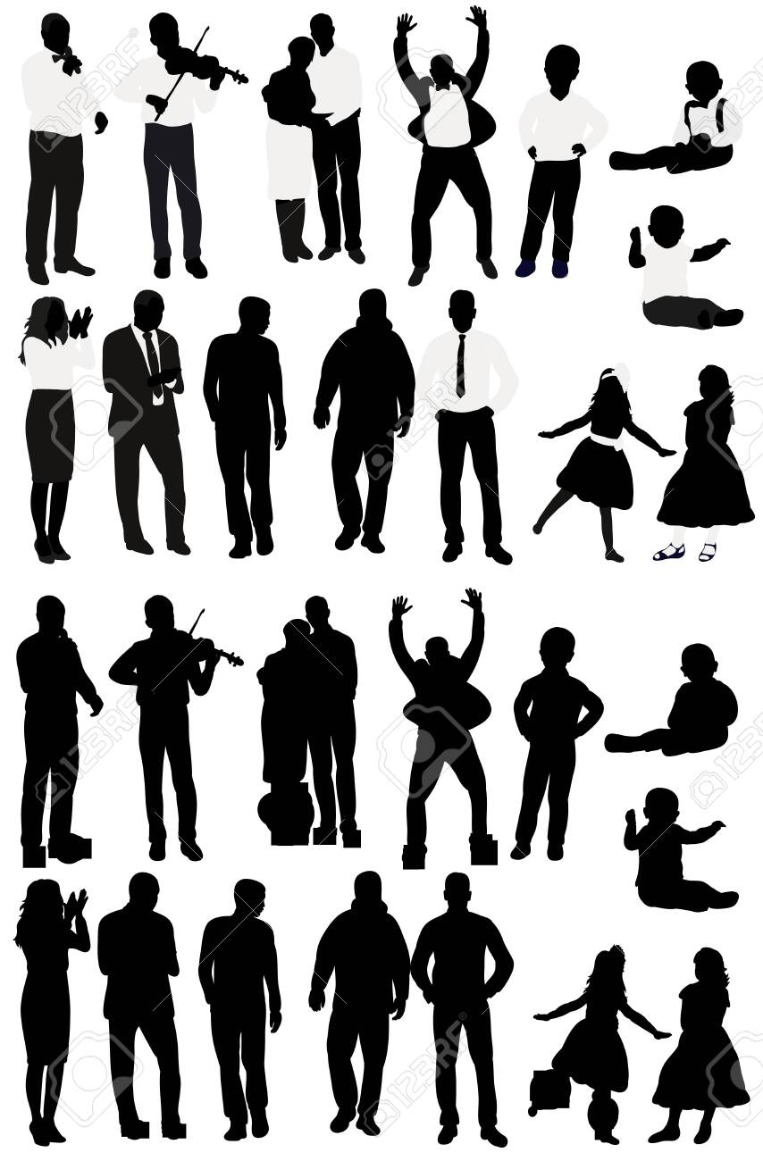 silhouette of people collection, set of silhouettes - 154034398