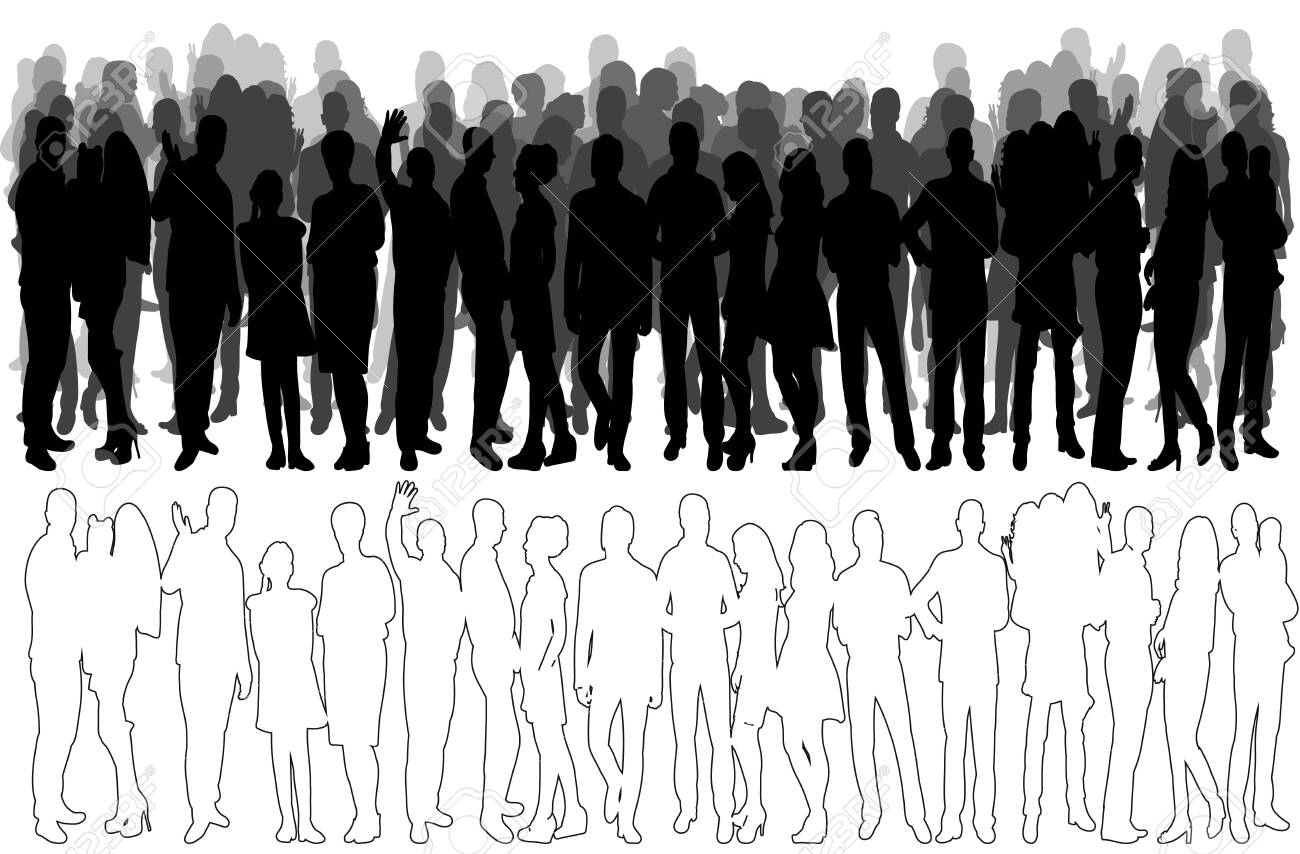 sketch of a crowd of people, silhouette, collection, vector - 154044083
