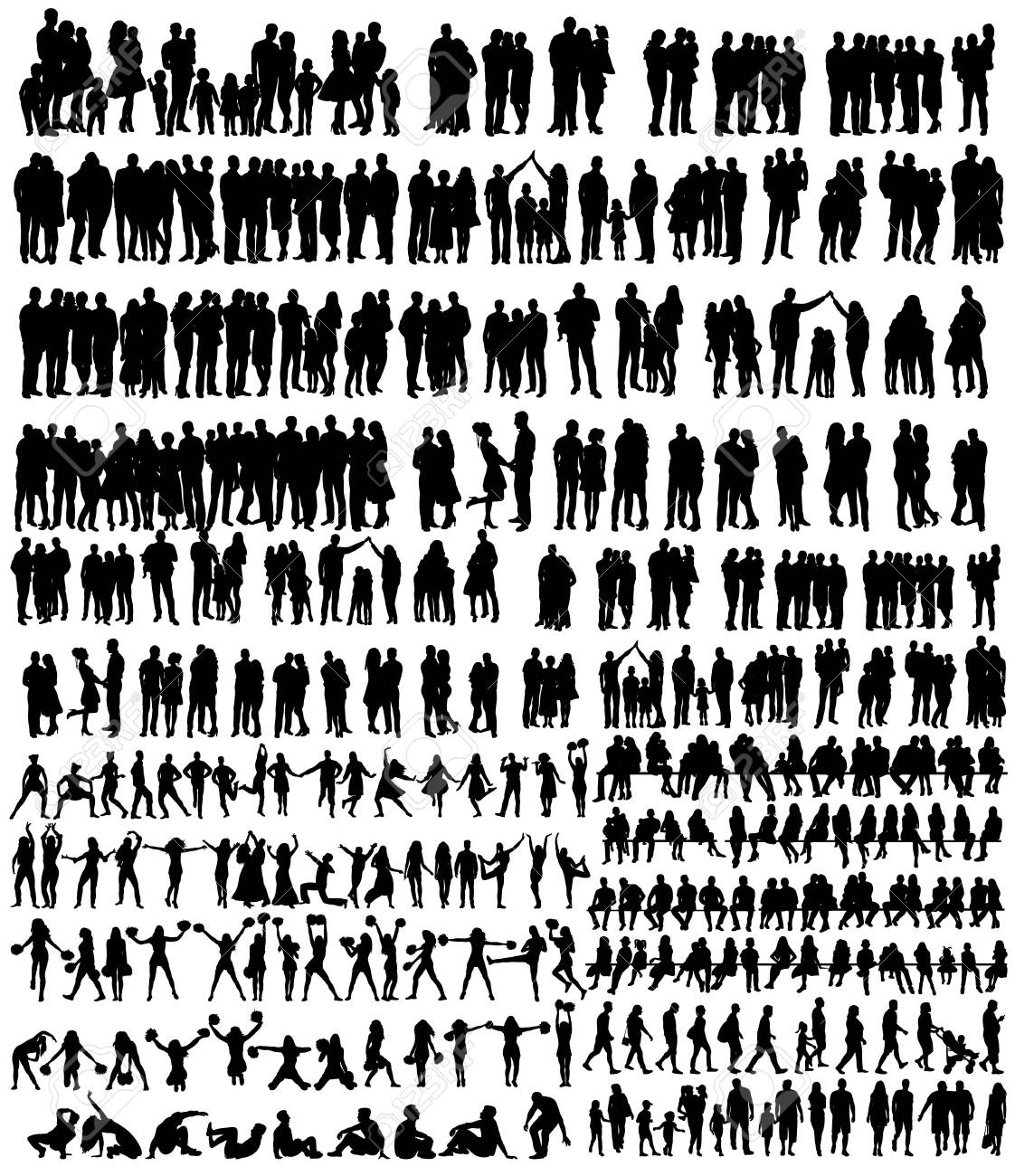 vector, isolated, people silhouettes set - 154193405