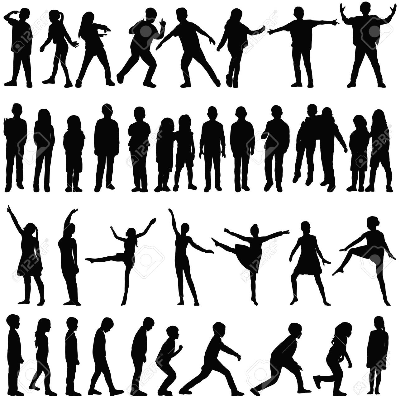 isolated, silhouette set kids, people, dance - 154193519