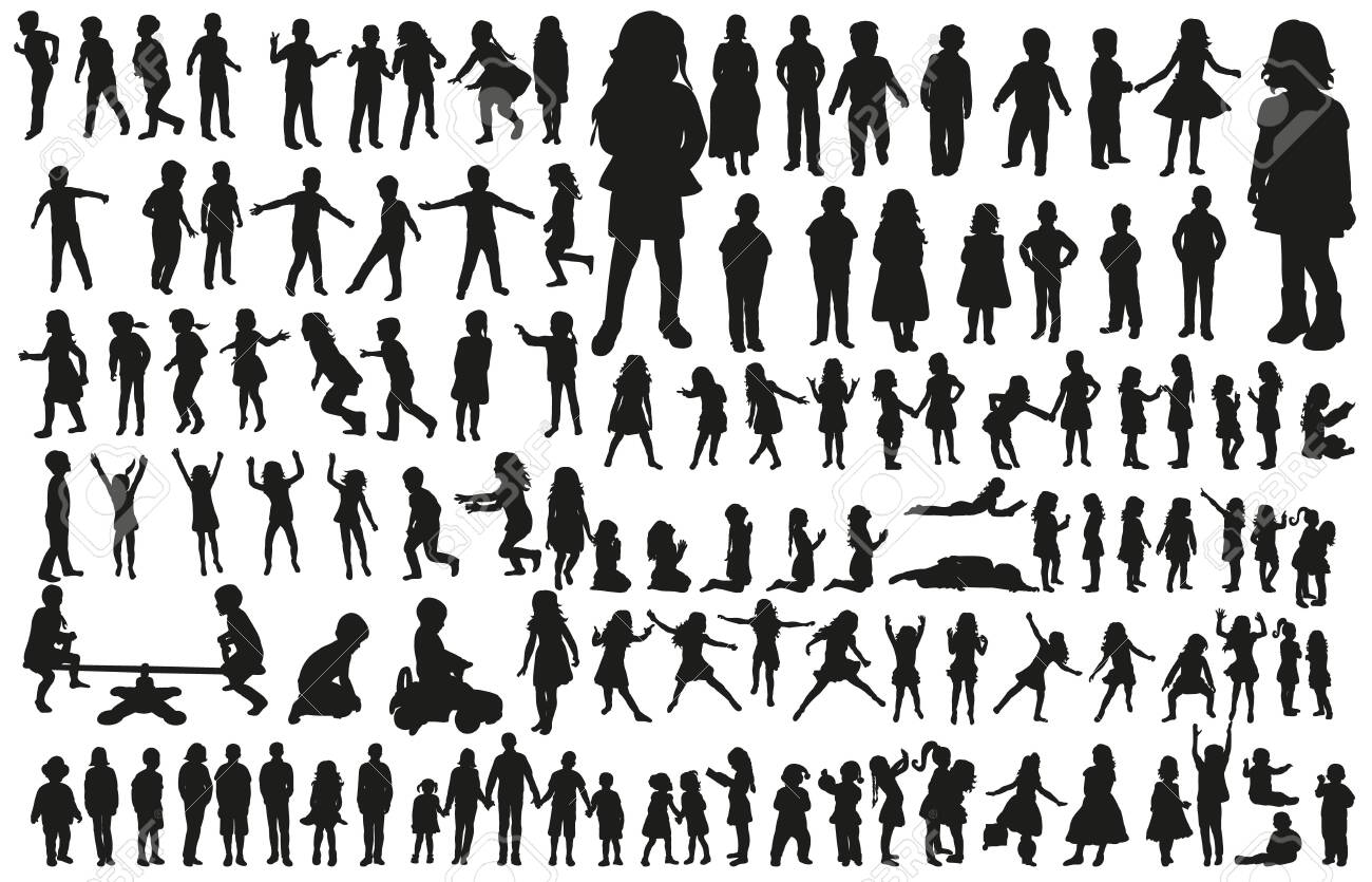 large collection of silhouettes of children - 154235211