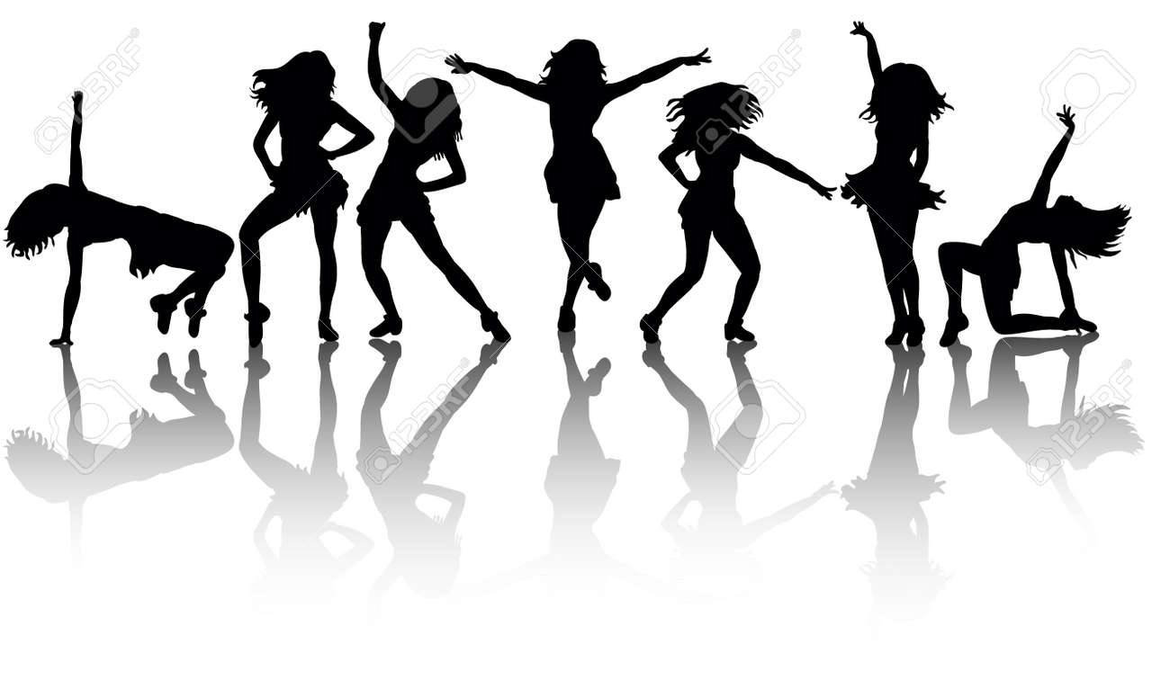 silhouette of a girl dancing big collection - 155149412