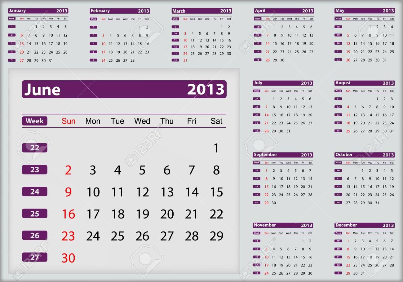 June 2013 calendar highlighting Stock Vector - 16032928