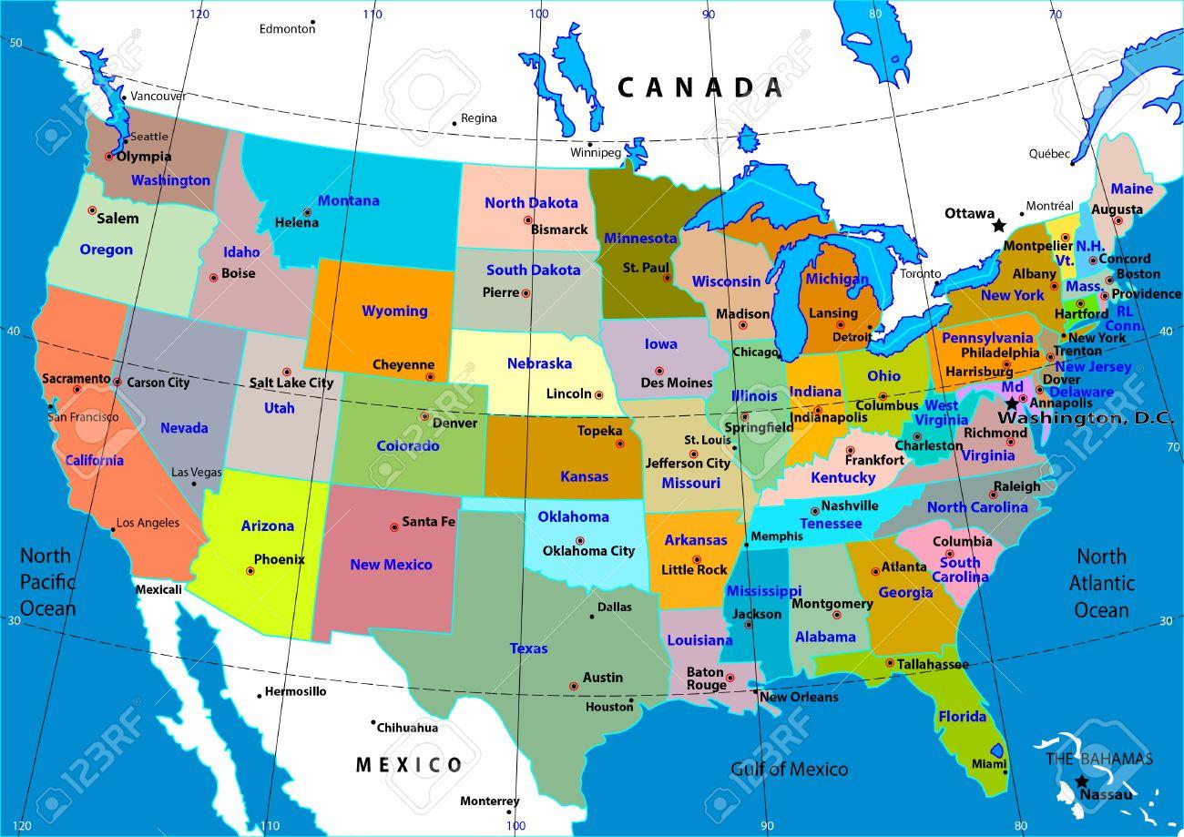 Bunte Karte Der Usa Mit Den Staaten Und Hauptstadte Lizenzfrei