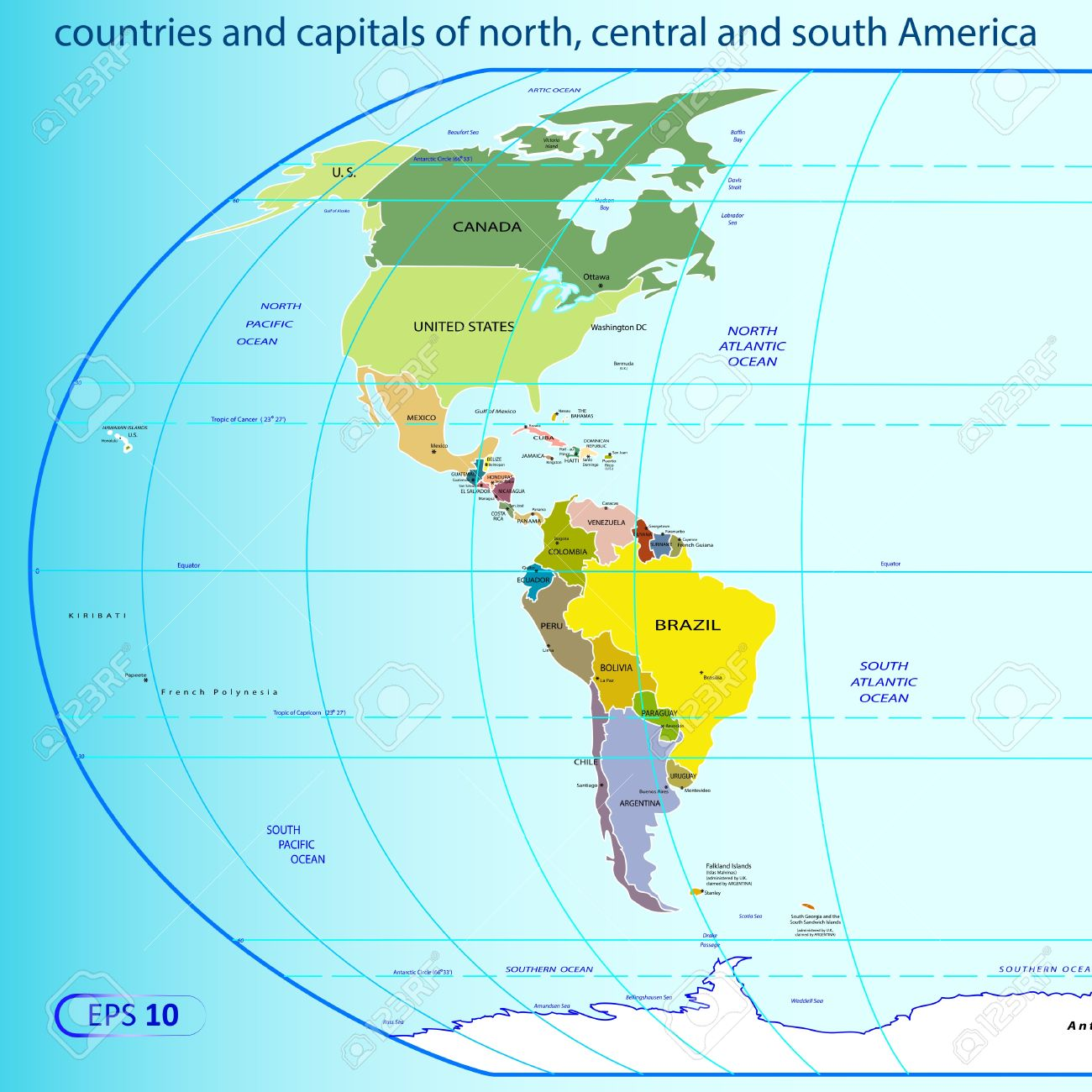 Map Of The Americas Stock Illustrations Cliparts And - Map of central and north america with capitals