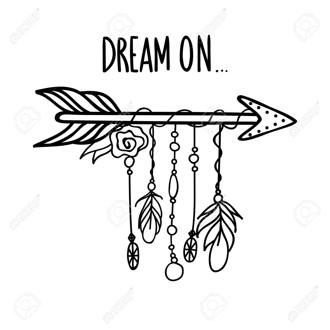 3ac417fd53522 Tribal outline arrow with feathers and jewelry and phrase - Dream..