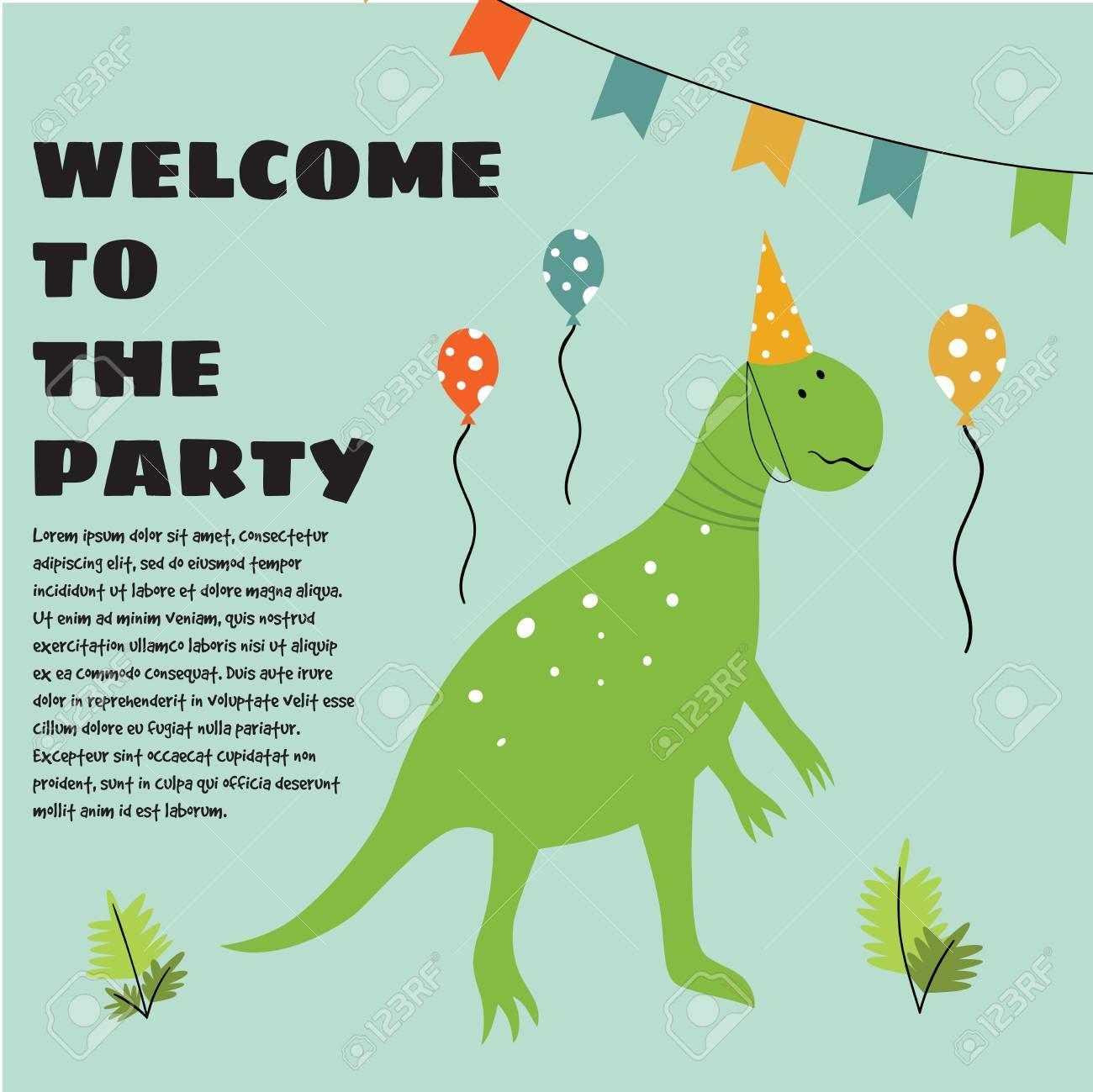 Invitation D Anniversaire Avec Des Elements De Dinosaure Et De Fete Verts De Dessin Anime Clip Art Libres De Droits Vecteurs Et Illustration Image 99943942