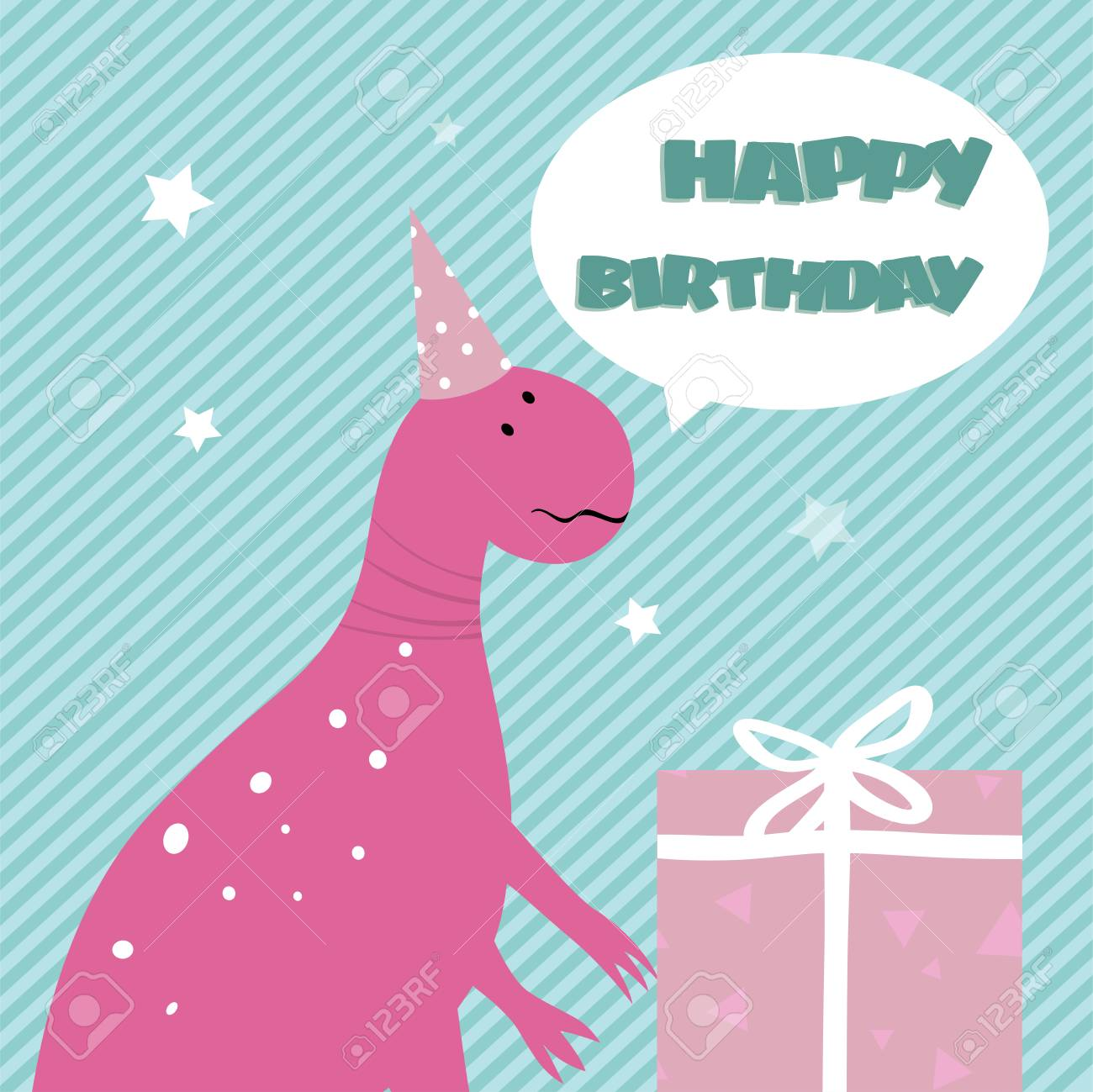 Birthday Card With Funny Cartoon Pink Dinosaur And Gift Box Isolated On Striped Background Bright