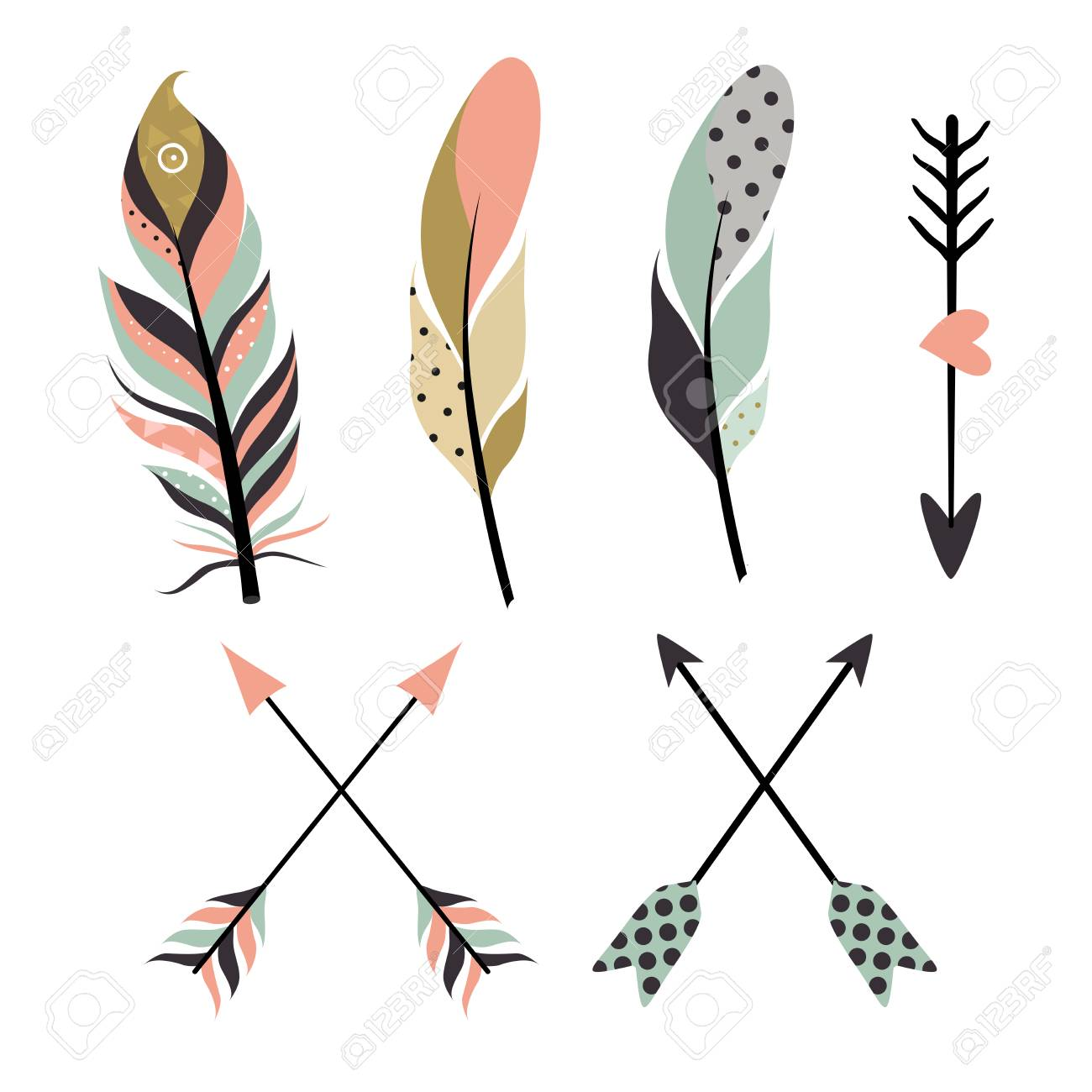 Set of tribal feathers and arrows on white background