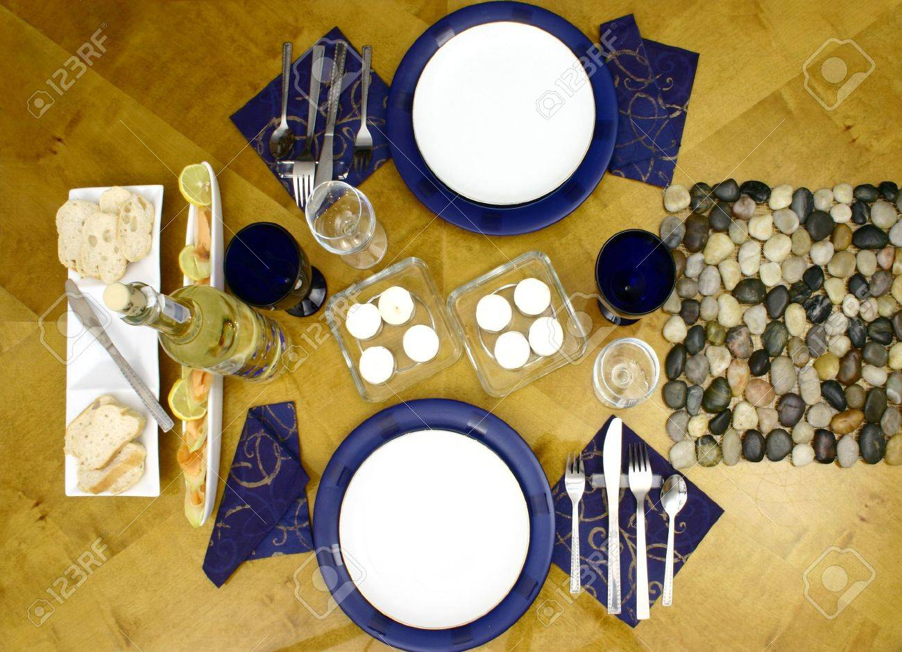 Dinner table top view - Stock Photo Wooden Table With Everithing Ready For Occasional Dinner For Two Person Top View