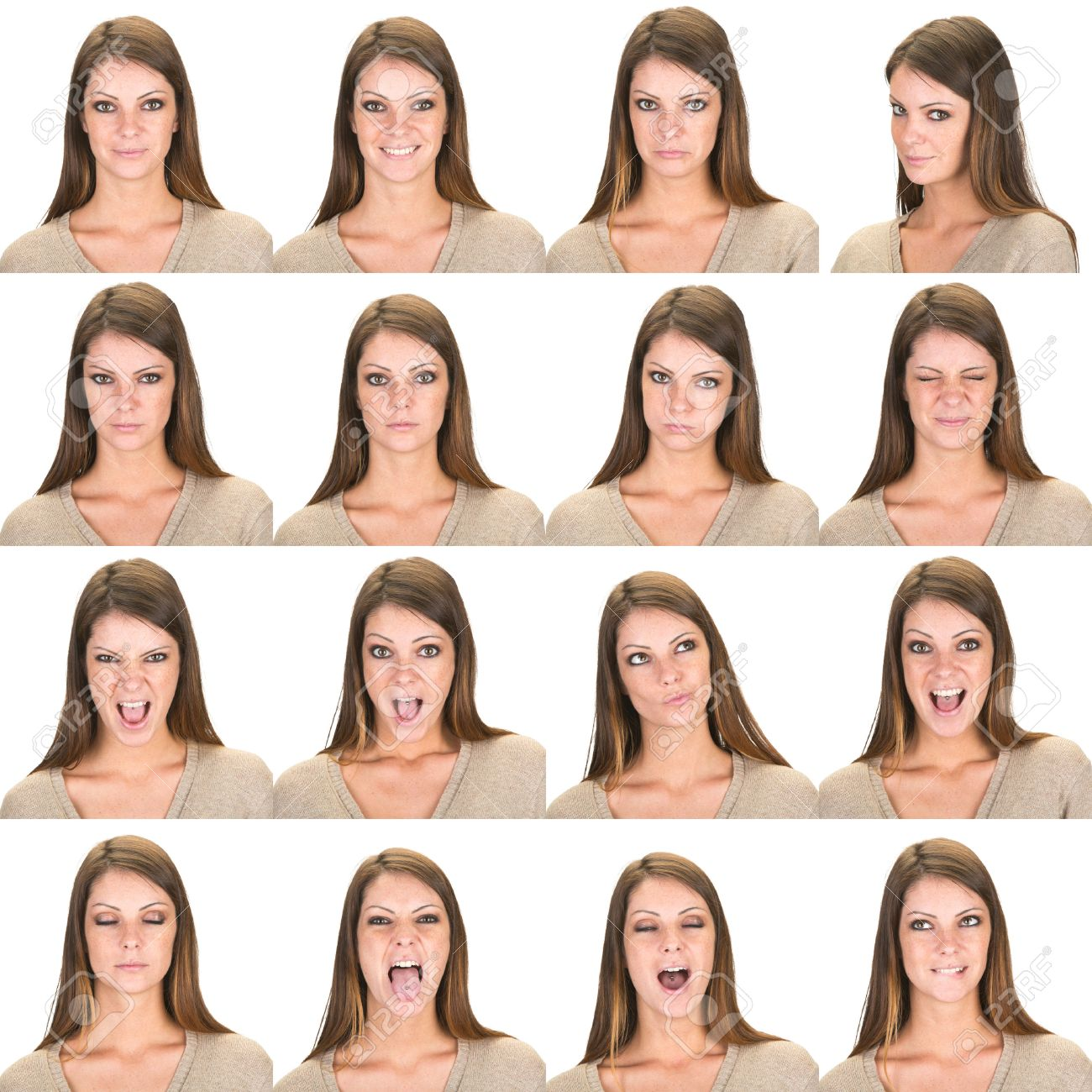 Grimace face clip art stock photo woman pulls a face in upset - Angry Suspicious Long And Straight Hair Brunette Young Caucasian Woman Collection Set Of Face Expression