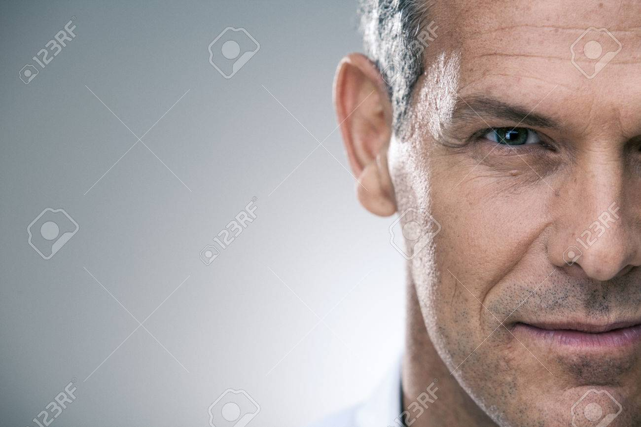 handsome man with shirt portrait isolated on grey - 57929839