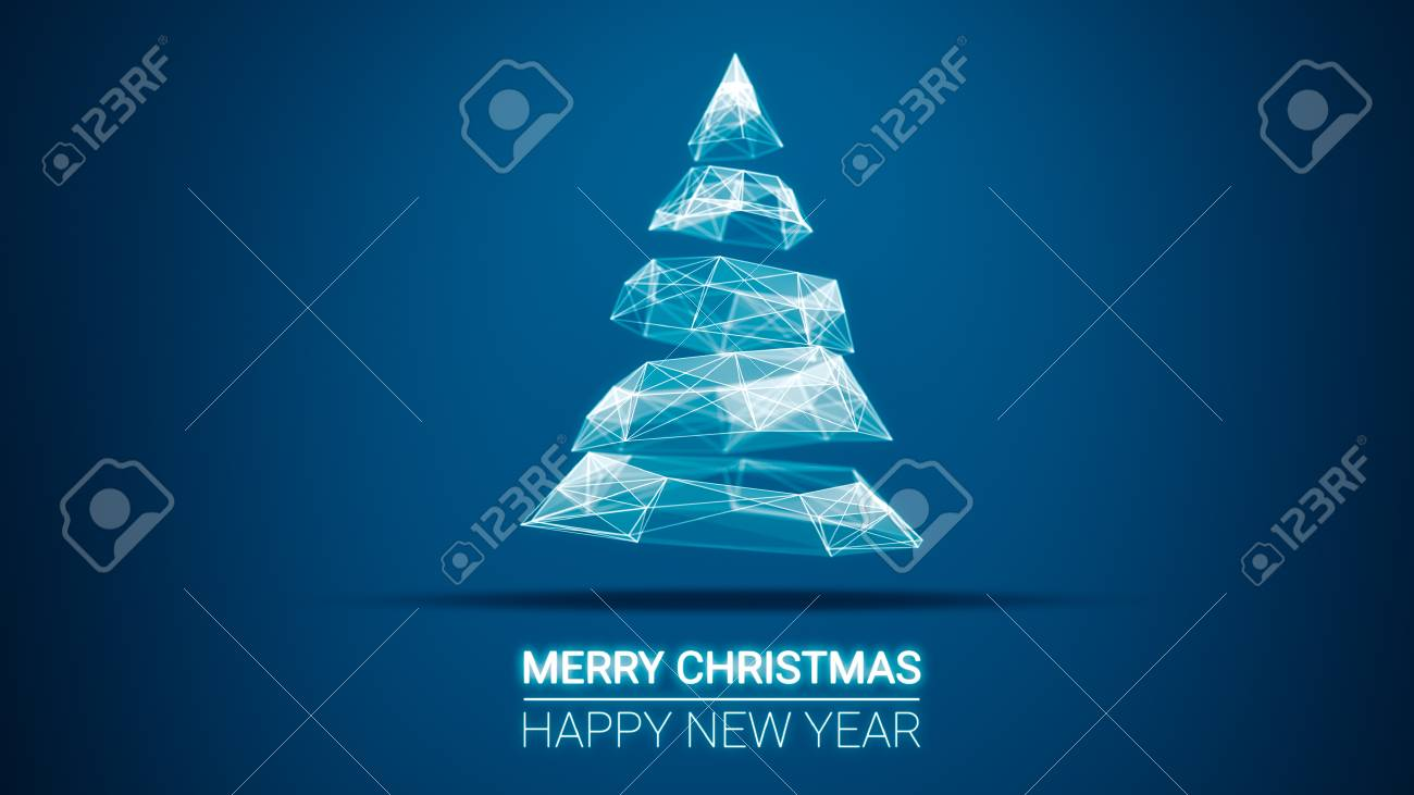 Modern Future Christmas Tree And Merry Christmas And Happy New