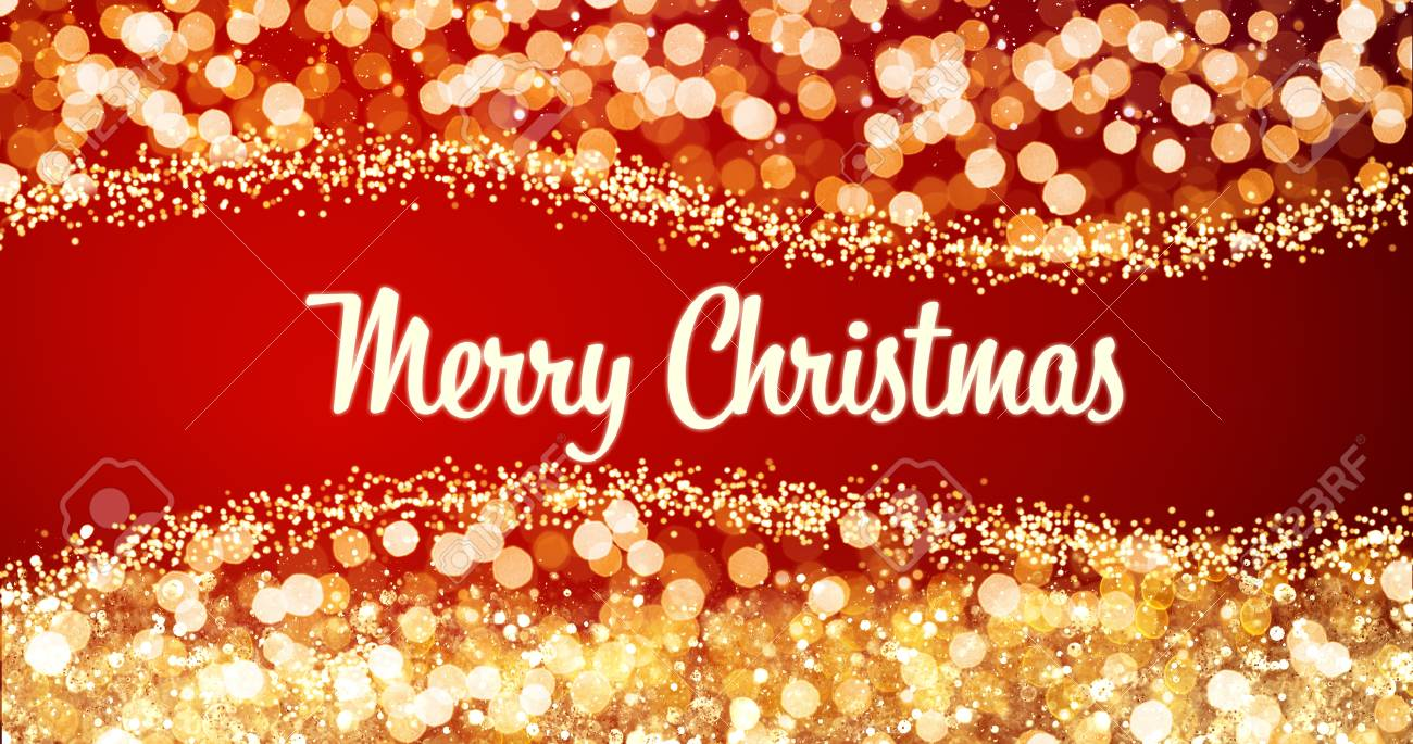 Sparkling gold and silver xmas lights with merry christmas greeting sparkling gold and silver xmas lights with merry christmas greeting message on red backgroundsnow m4hsunfo