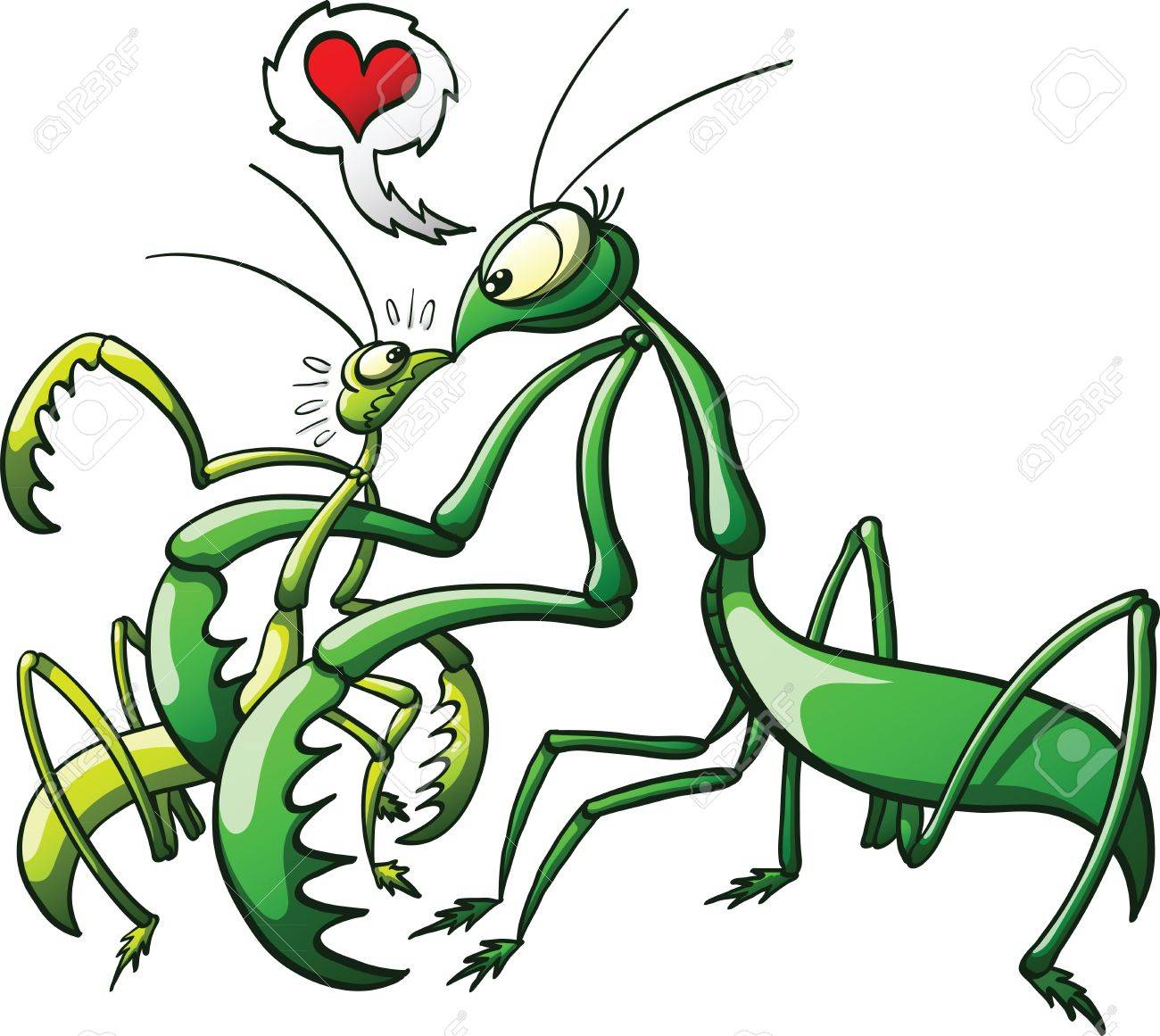 Female praying mantis intimidating mate while inviting him to make love Stock Vector - 17059286