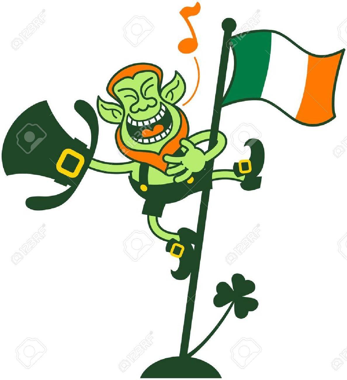 Happy and proud leprechaun singing after having climbed an Irish flag pole Stock Vector - 18132418