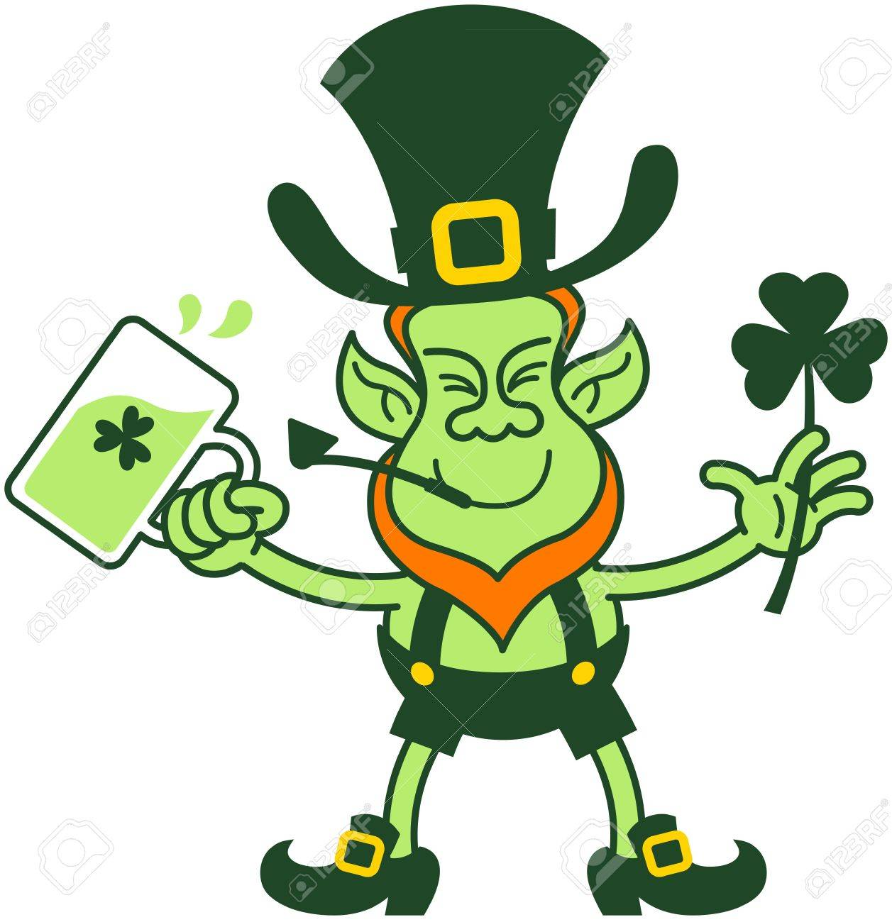 Green leprechaun smiling while holding beer and a shamrock clover Stock Vector - 18132393