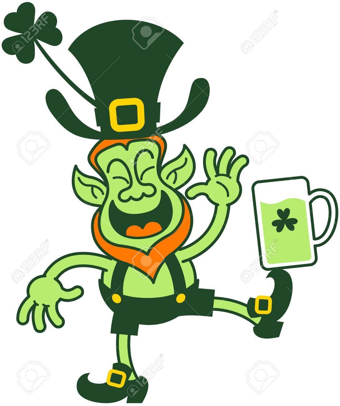 Lutin Irlandais Rire Tout En équilibrant Un Verre De Bière Sur Son Pied Clip Art Libres De Droits Vecteurs Et Illustration Image 18132403