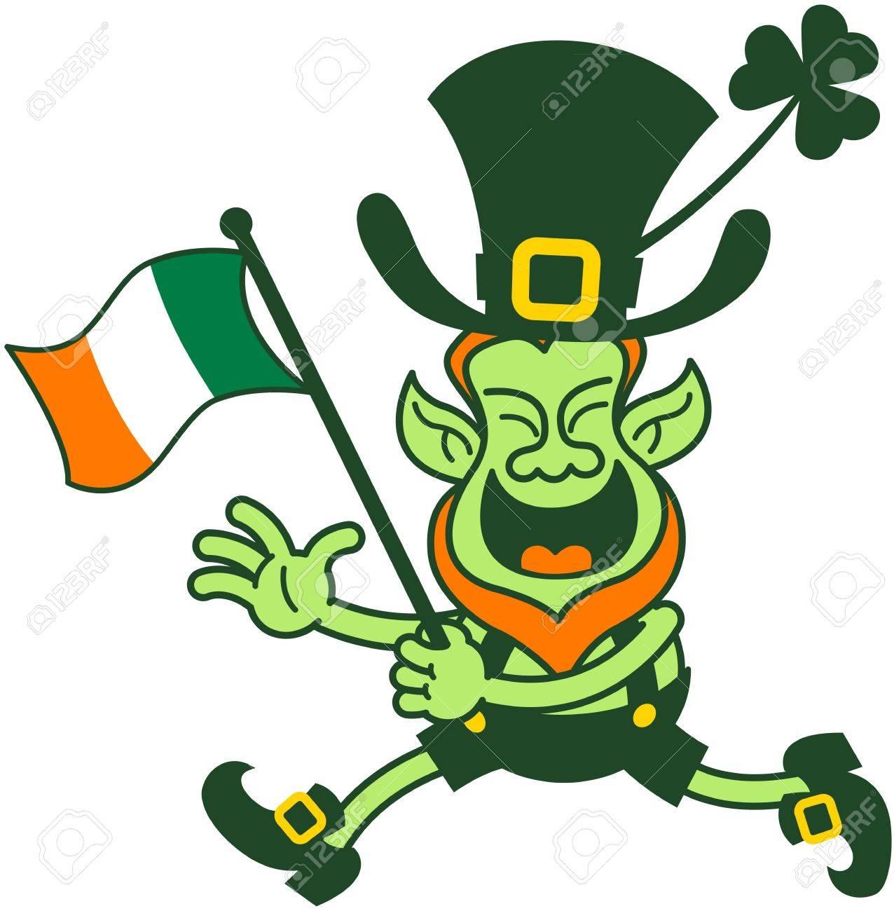 Green Leprechaun Running And Waving An Irish Flag To Celebrate ...