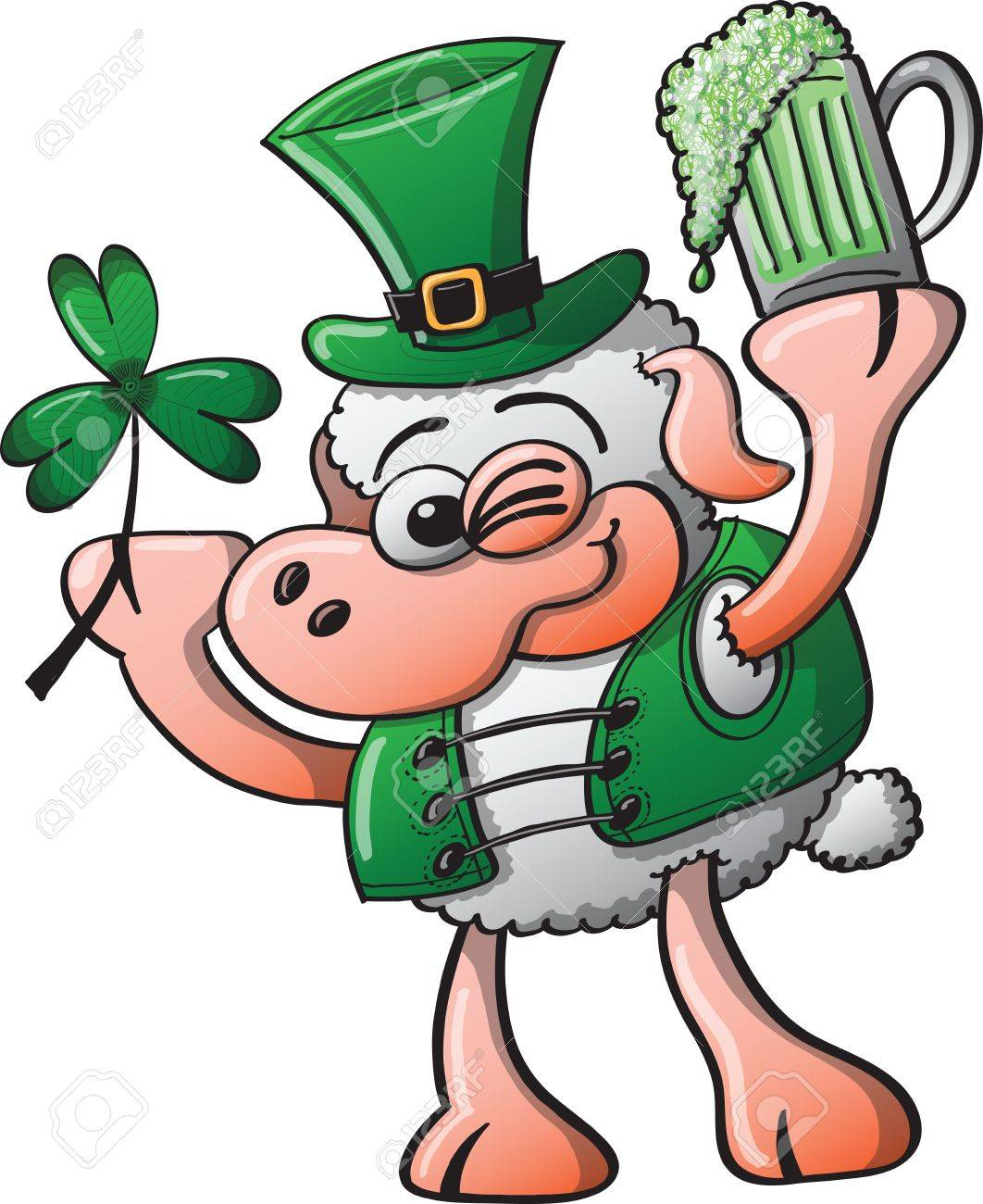 St Patrick s Day Sheep winking, smiling and holding a clover and a glass of beer Stock Vector - 19933380