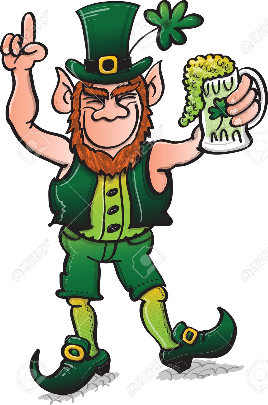 St Patrick s Day Leprechaun dancing and celebrating with beer while rising his finger Stock Vector - 19933385