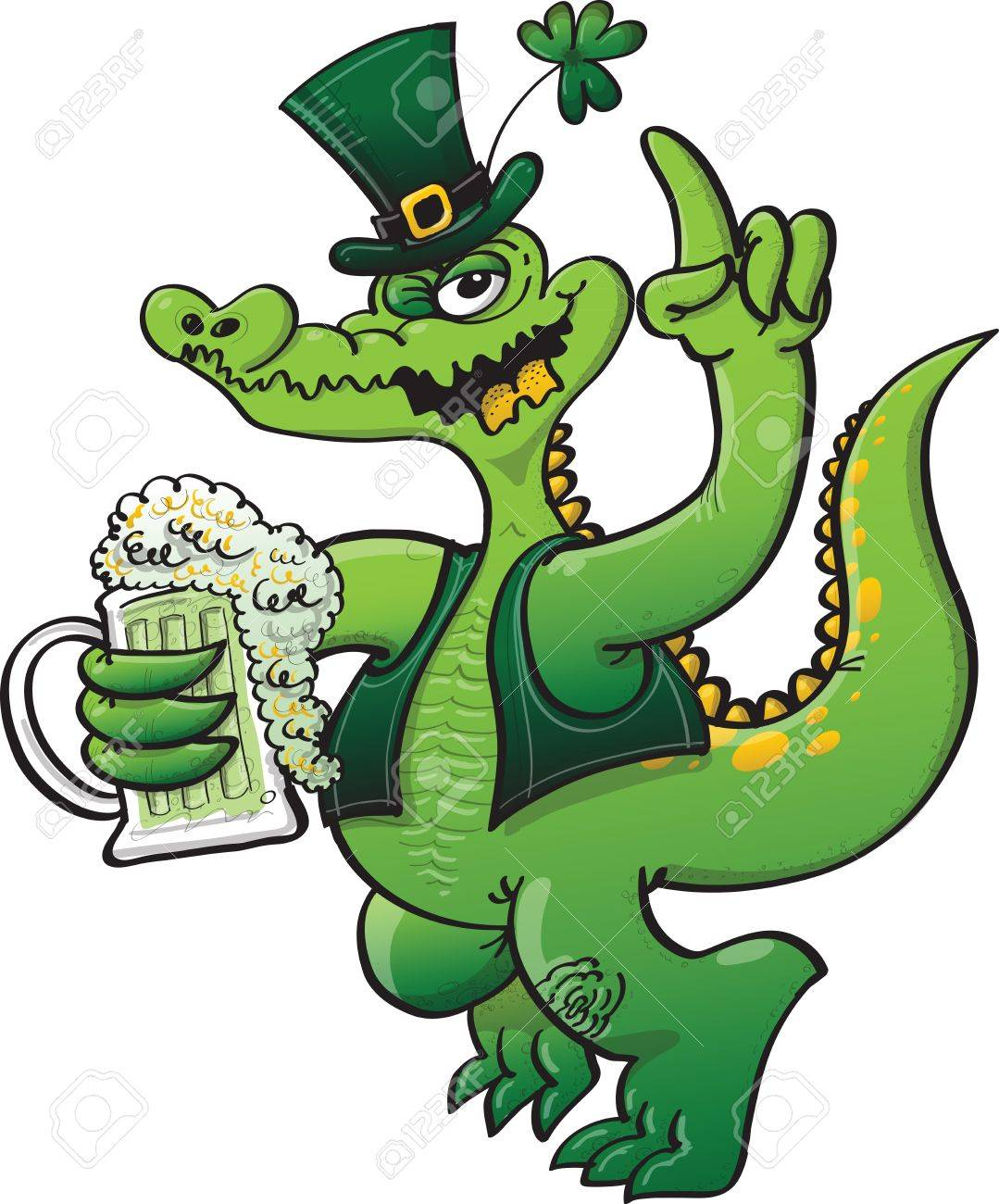 Green crocodile wearing green Saint Patrick s Day clothing and celebrating with beer Stock Vector - 19933394