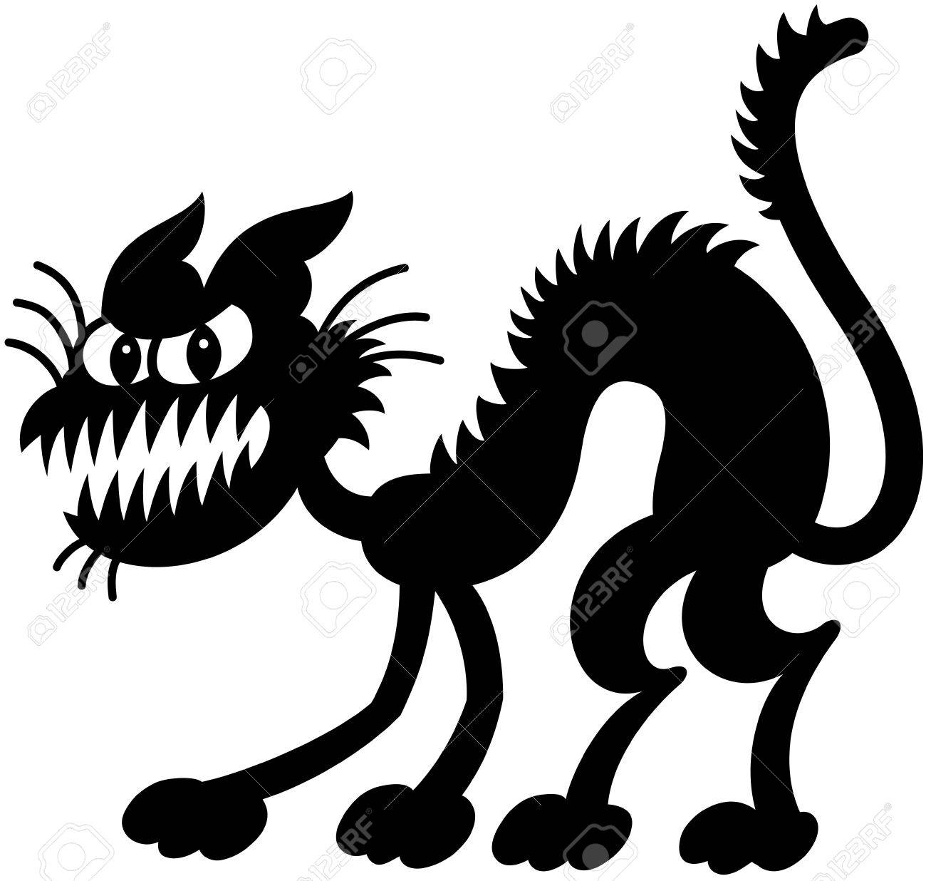 Silhouetted spooky black cat expressing how bad and scared his mood is by bristling, bending his body, showing his teeth and staring at you Stock Vector - 21454256