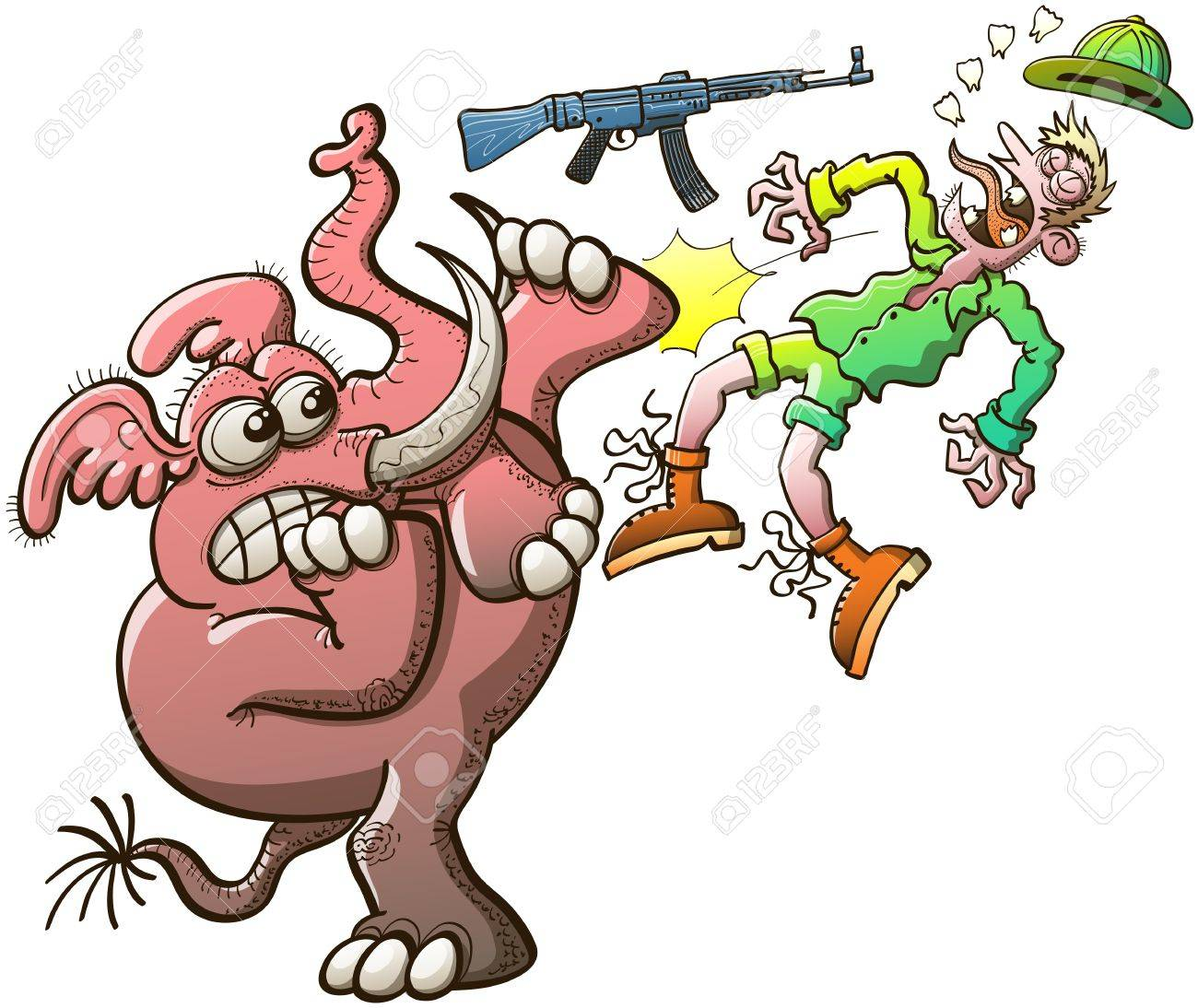 Furious and wild elephant with large tusks while fighting back and avoiding being hunted  The animal throws the poacher away and rips his teeth out by kicking his mouth and his riffle violently Stock Vector - 21983315