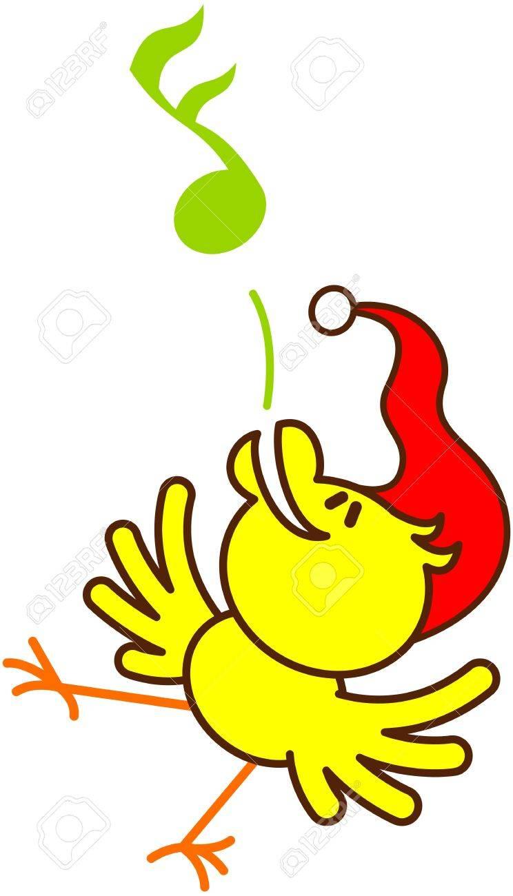 Netter Gelber Vogel Mit Roten Sankt-Hut Beim Tanzen Und Singen In ...