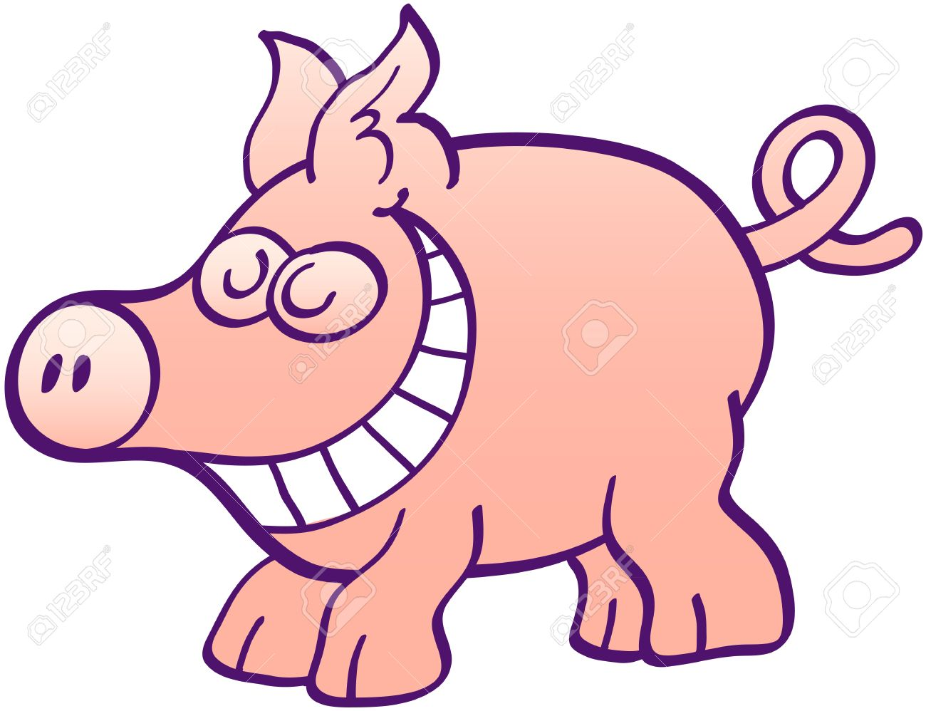 Nette Kleine Schwein Mit Großer Schnauze Ohren Und Ringelschwanz