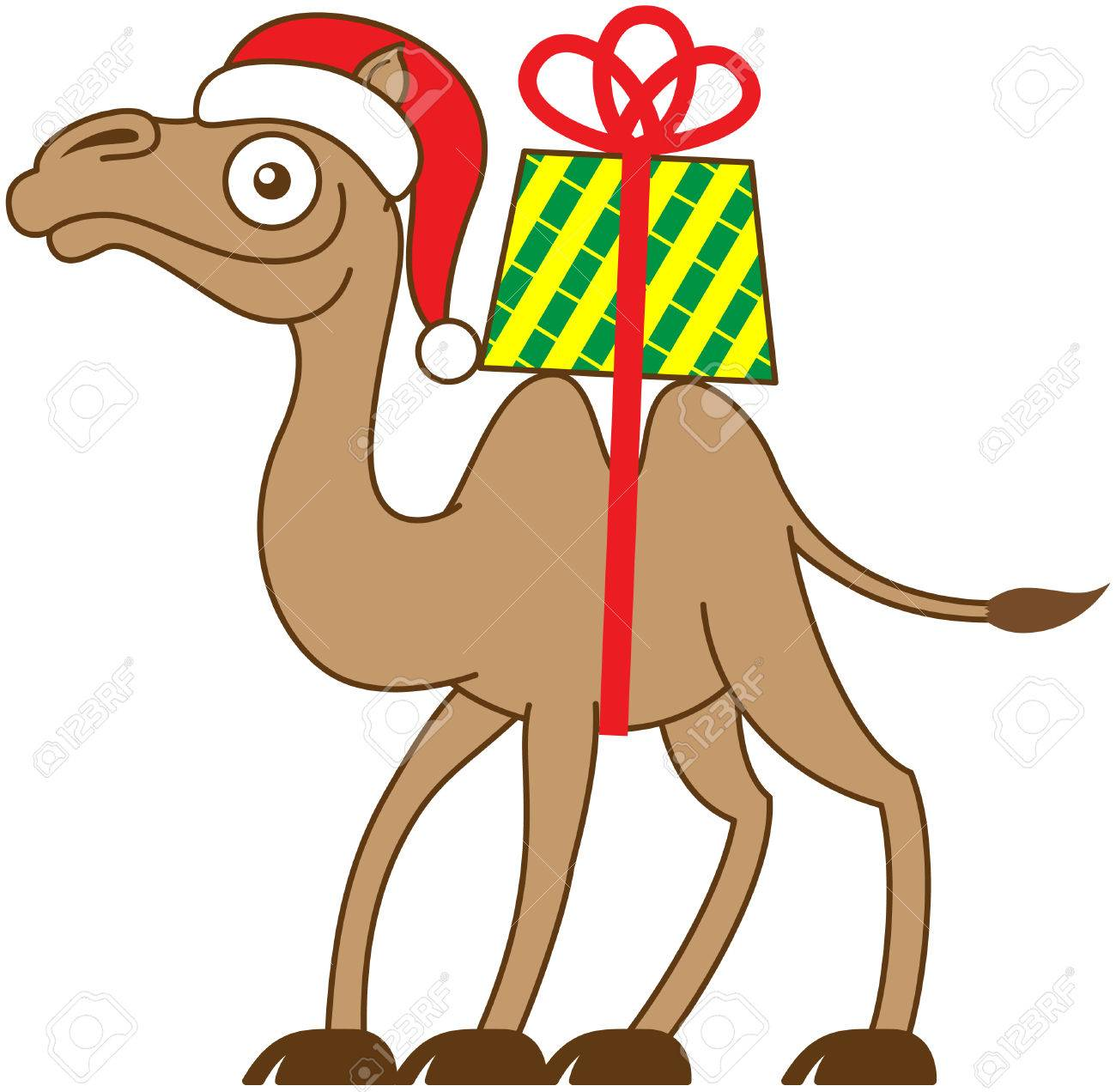 Brown Christmas Camel Carrying A Gift On His Back While Smiling ...