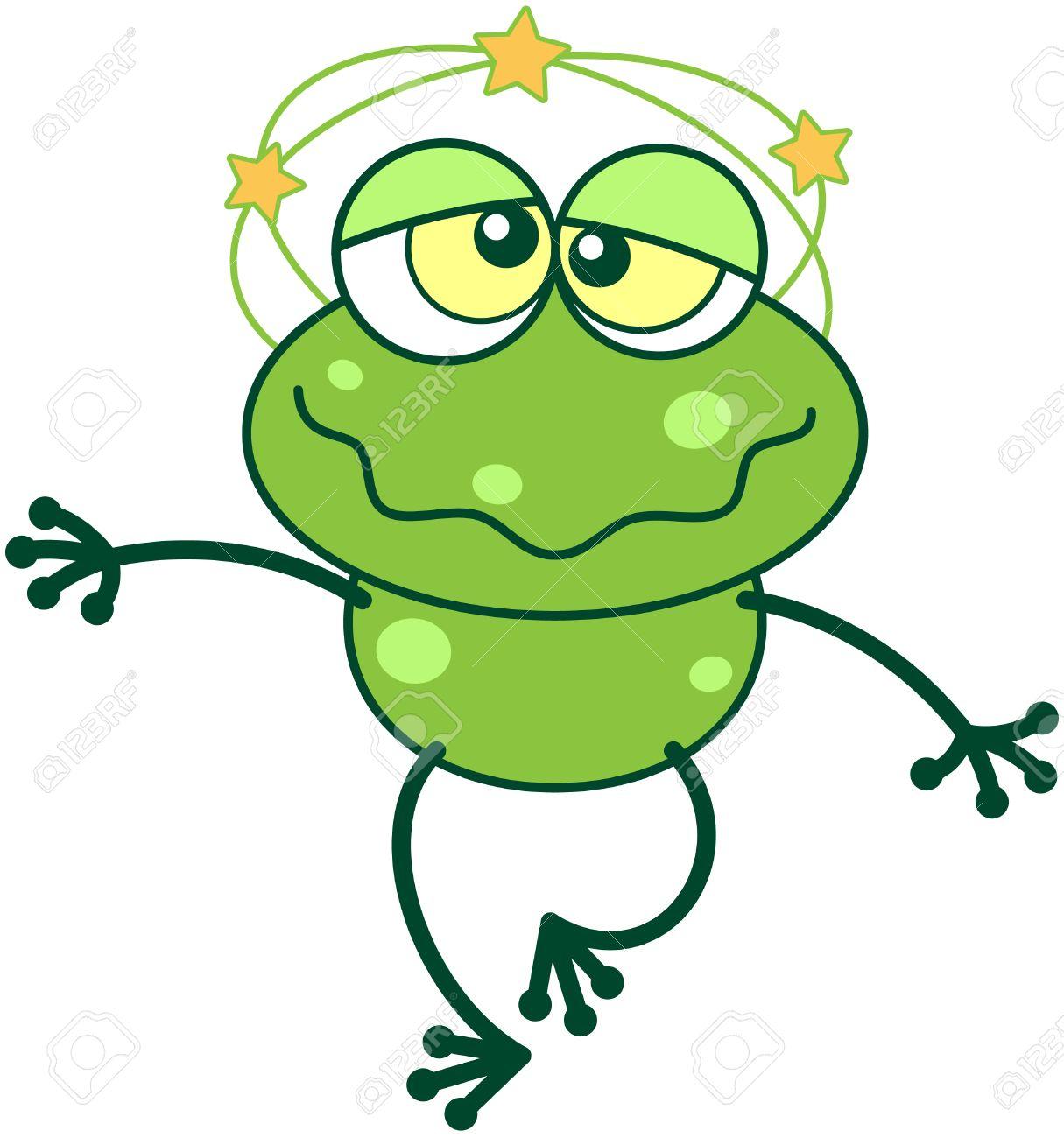 34998079-Grenouille-verte-mignonne-avec-de-longues-jambes-et-les-yeux-exorbit-s-dr-les-tout-en-se-sentant-tou-Banque-d'images