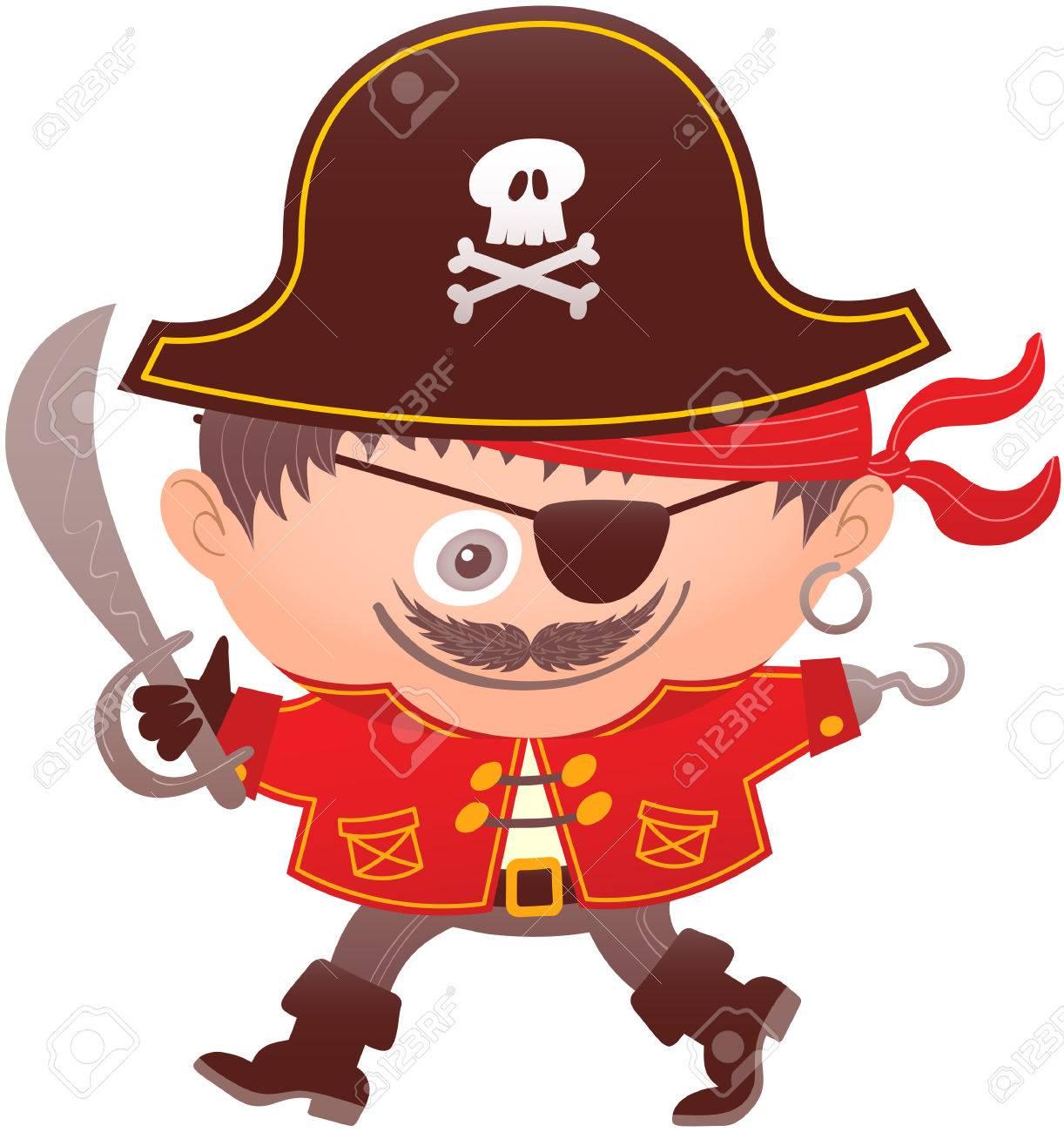 d26cdd5c7e79 Le Costume De Pirate A Un Grand Chapeau, Bandana Rouge, Boucle D oreille,  Gant, Crochet, Veste Rouge, Ceinture, Sabre, Crochet, Oculaire, Bottes Et  Un ...