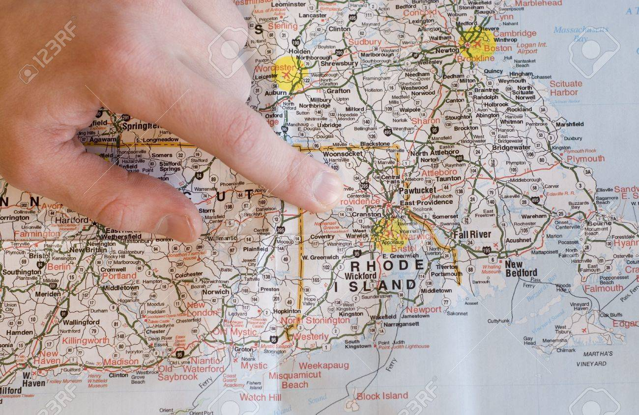 Usa New England Map With Man S Hand Pointing To Rhode Island Stock