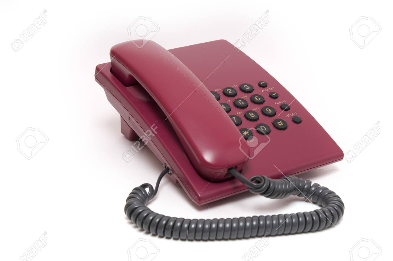 Traditional red phone isolated on white background Stock Photo - 4224755