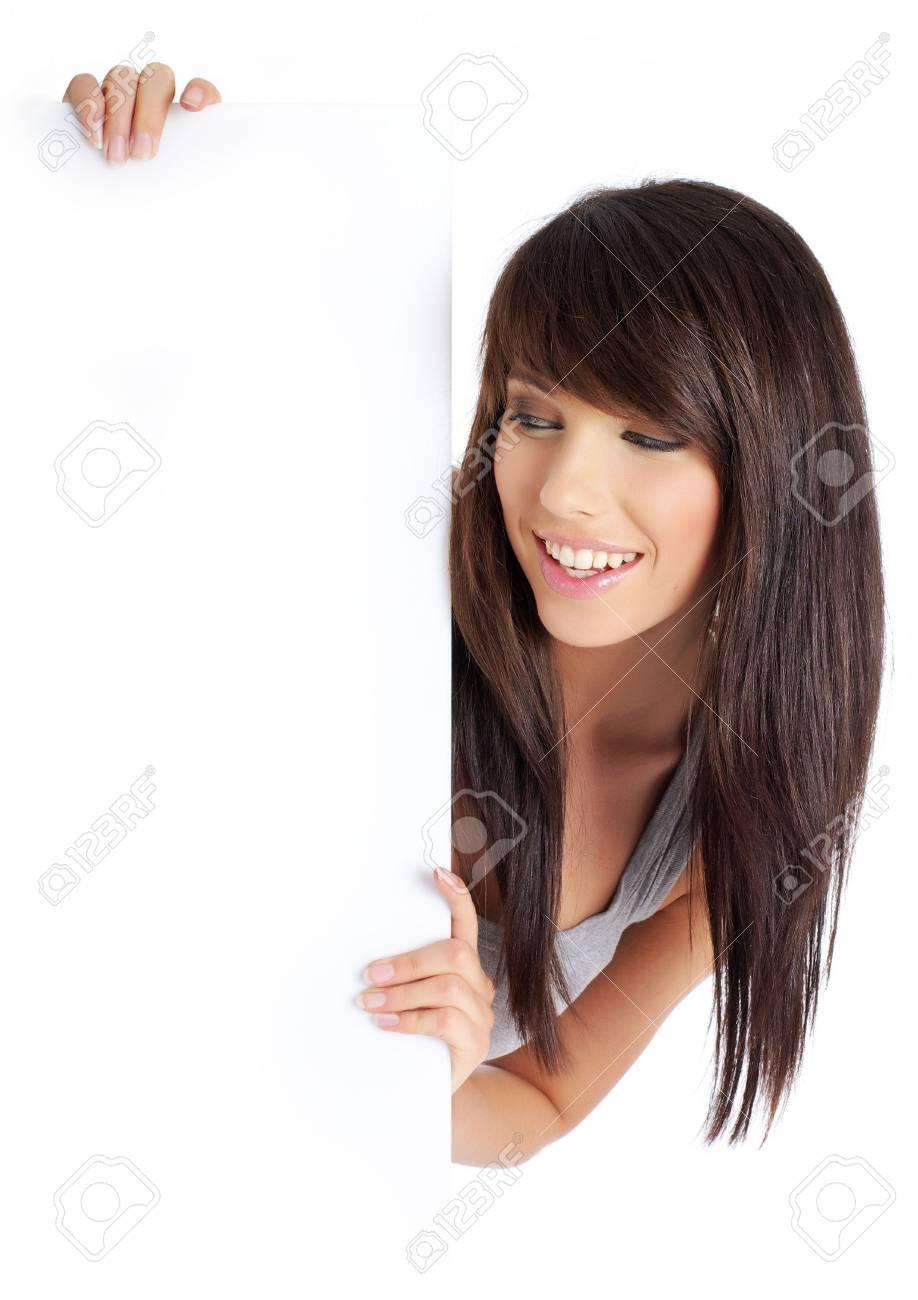Portrait of a beautiful woman holding a blank billboard Stock Photo - 5283908