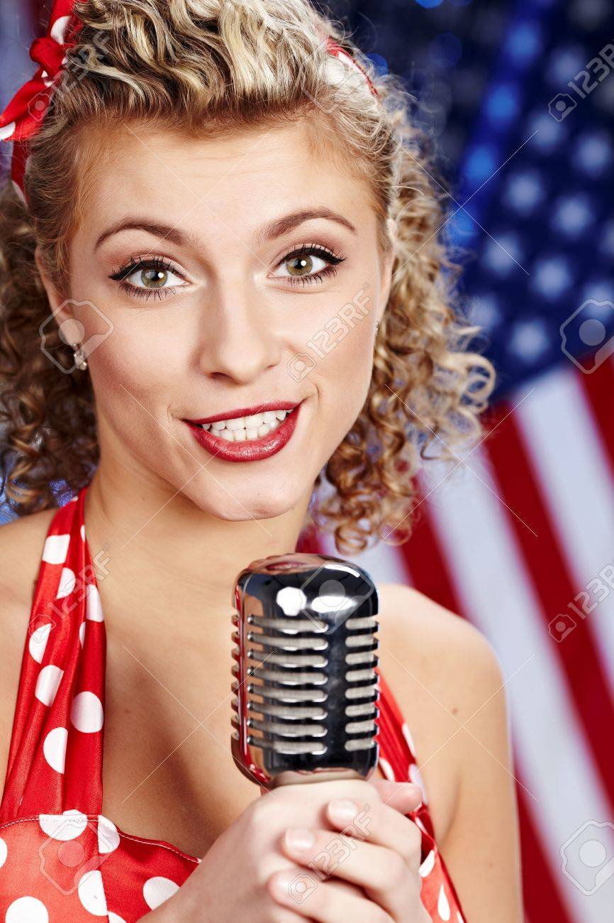 Singer woman, pin-up style Stock Photo - 6375303