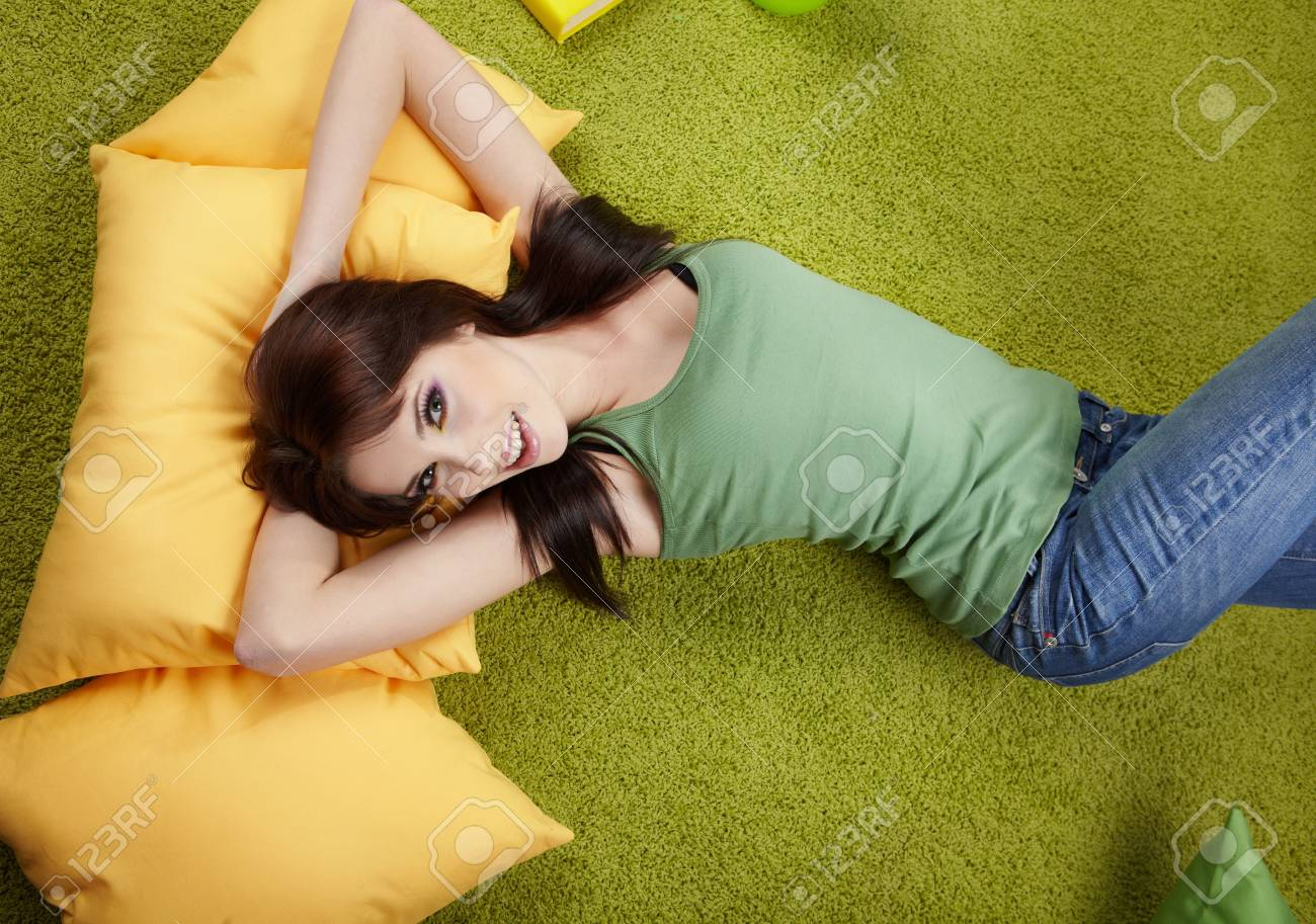 Portrait of a spring girl napping on pillow. Stock Photo - 6534127