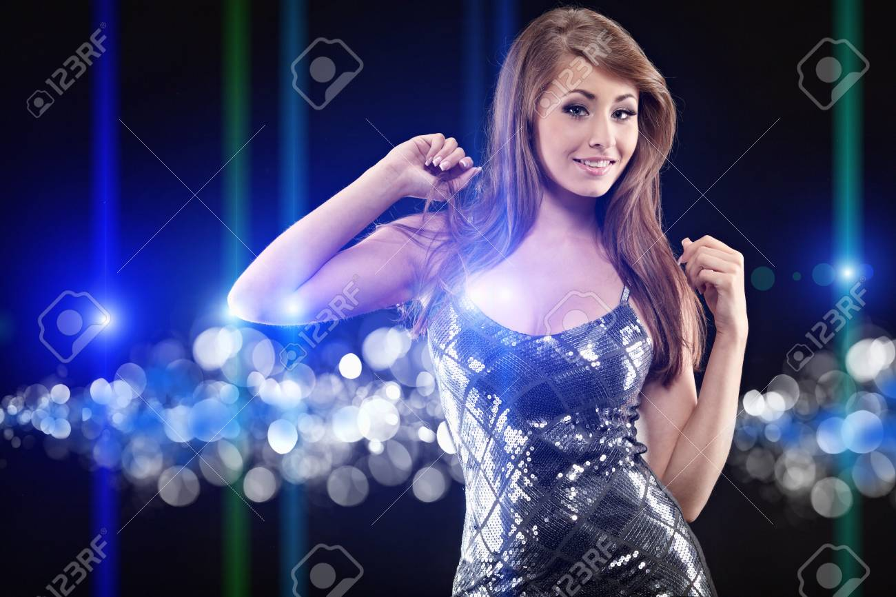 Portrait of a beautiful dancing girl . Black background Stock Photo - 7532694