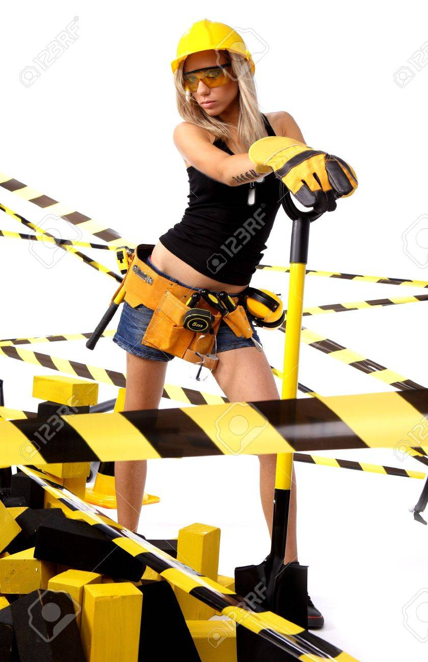 Sexy blonde female construction worker Stock Photo - 7762362