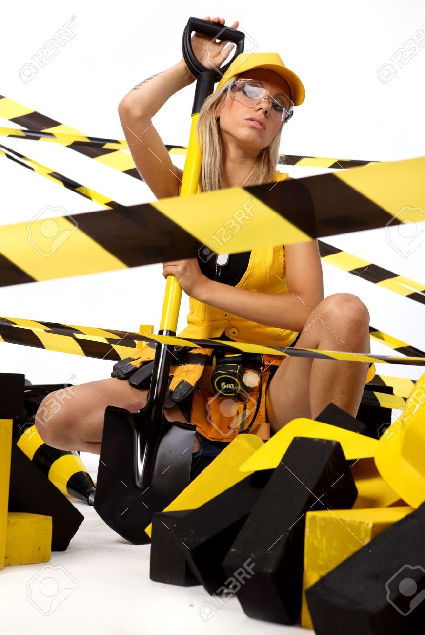 Sexy blonde female construction worker Stock Photo - 7762407