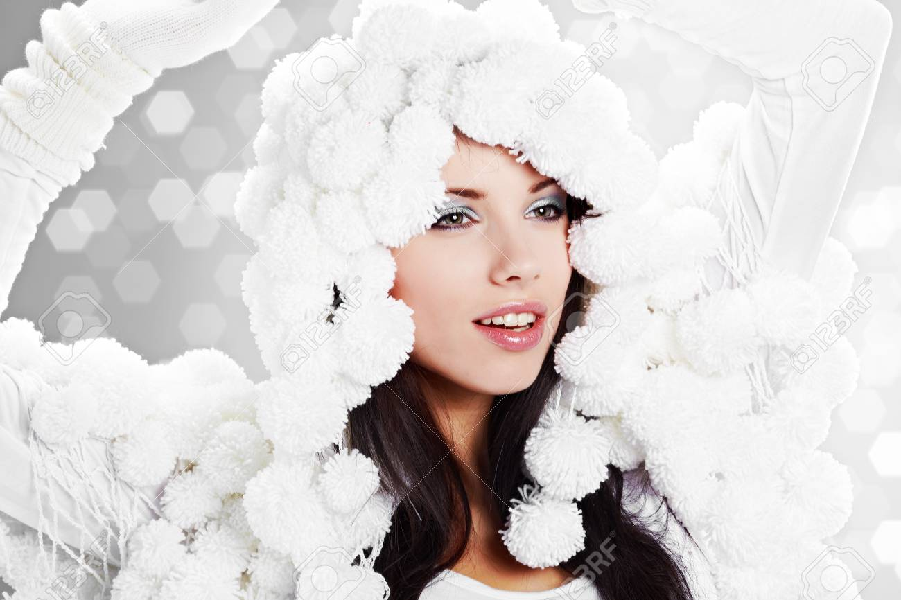 Portrait Of A Winter Woman Pom Pon Hat Stock Photo 7762571